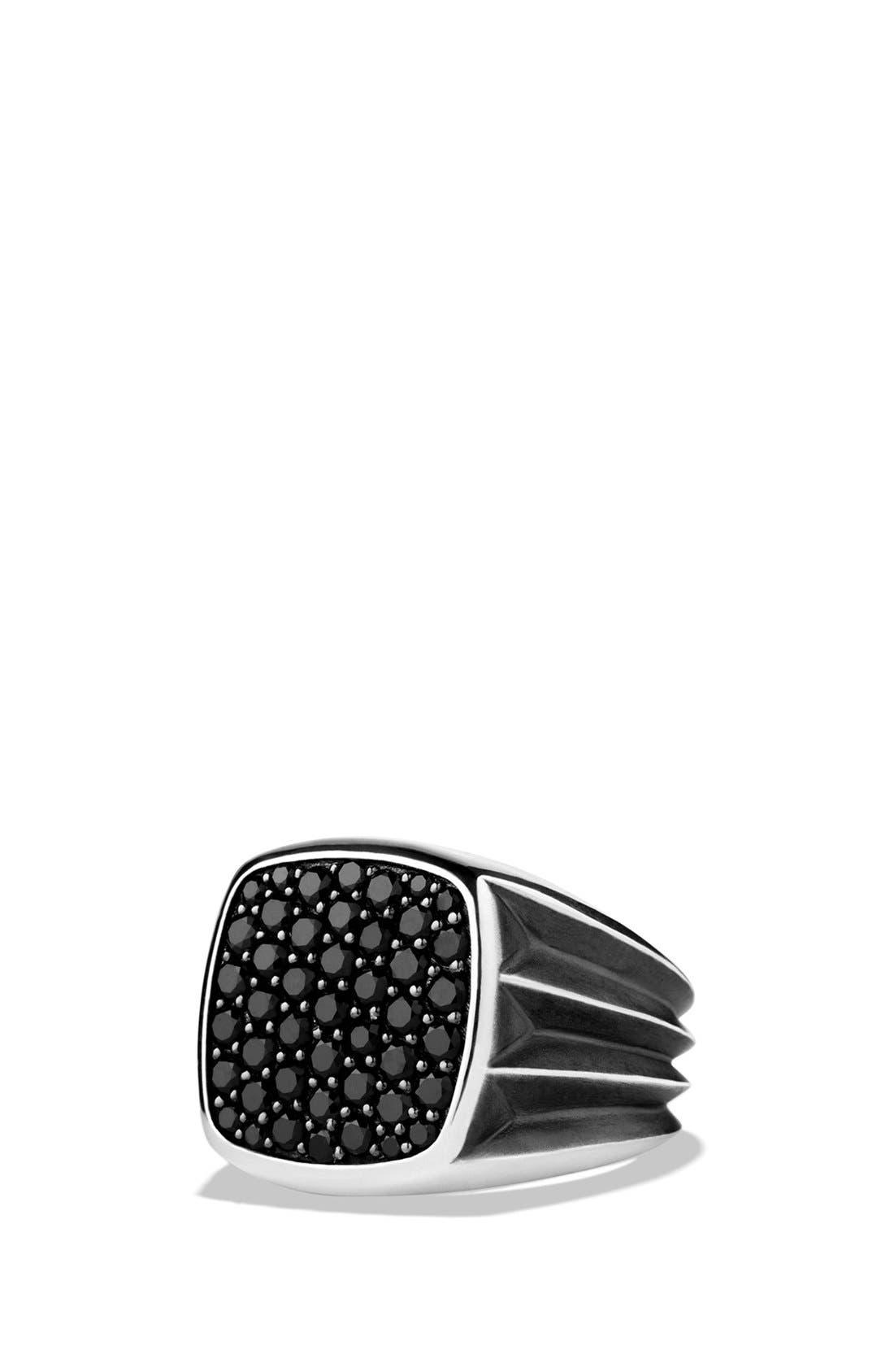 Main Image - David Yurman 'Knife Edge' Signet Ring with Black Diamonds
