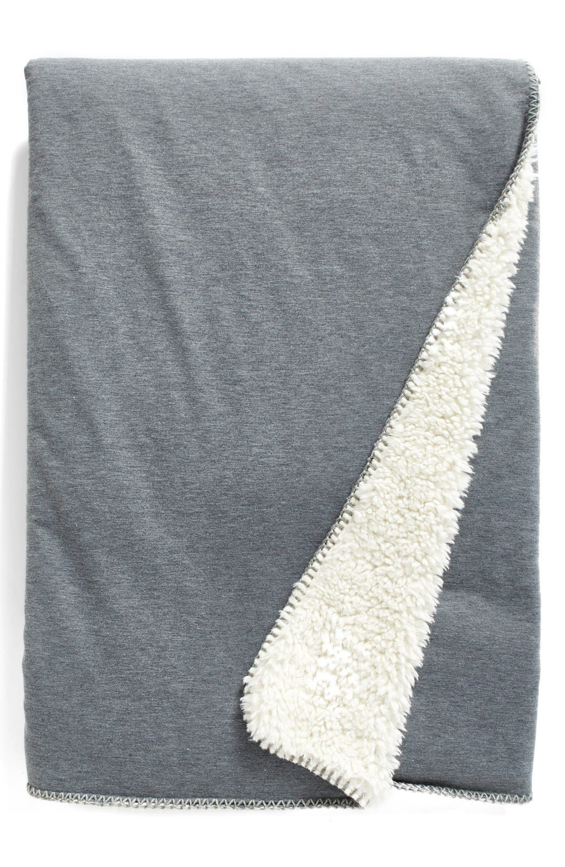 Nordstrom Jersey/Faux Fur Throw,                             Main thumbnail 1, color,                             Grey Alloy Heather
