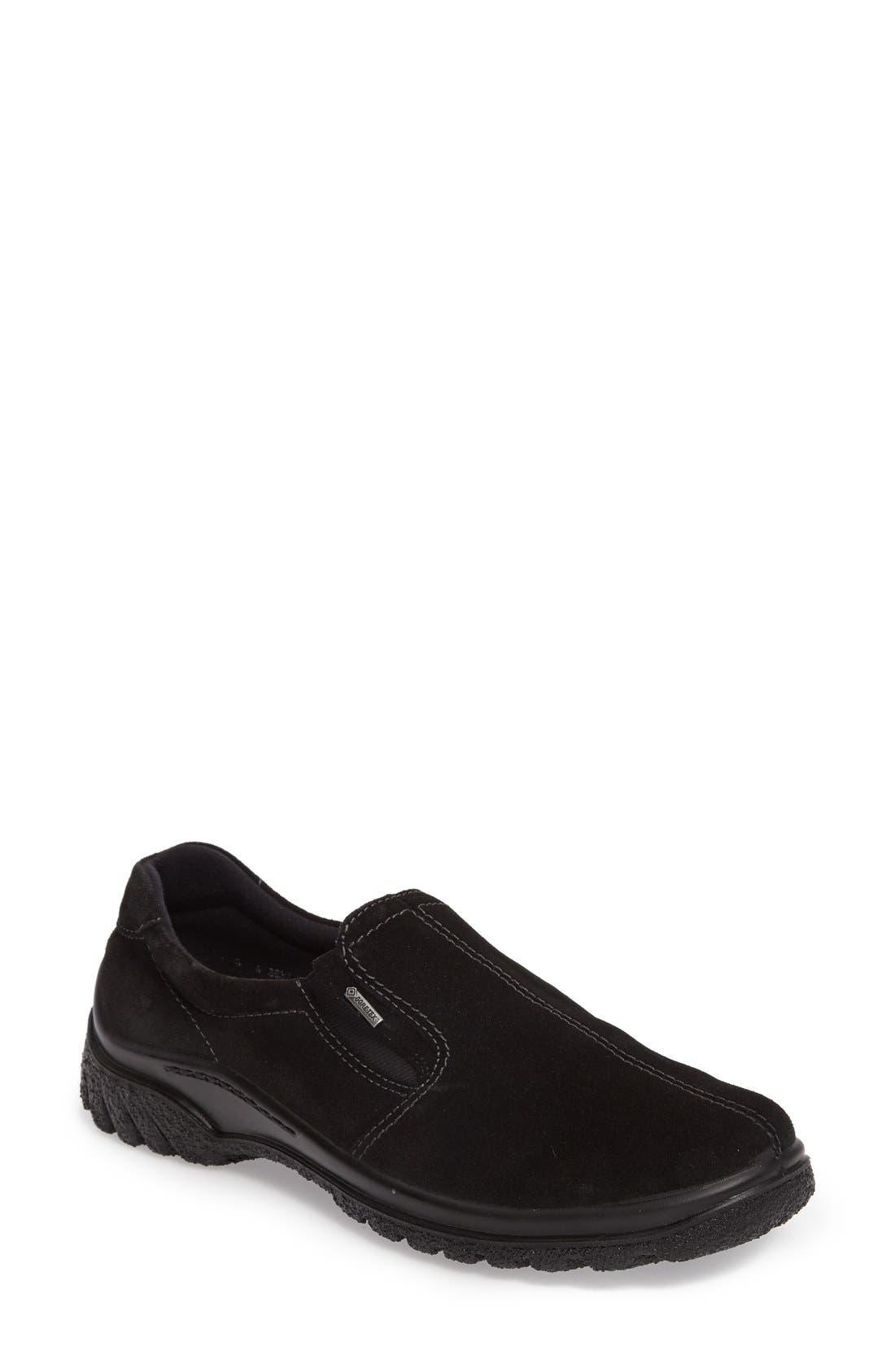Parson Waterproof Gore-Tex<sup>®</sup> Slip-On Sneaker,                             Main thumbnail 1, color,                             Black Suede