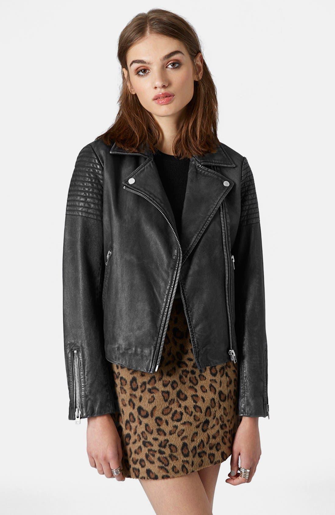 Main Image - Topshop Sheepskin Leather Biker Jacket