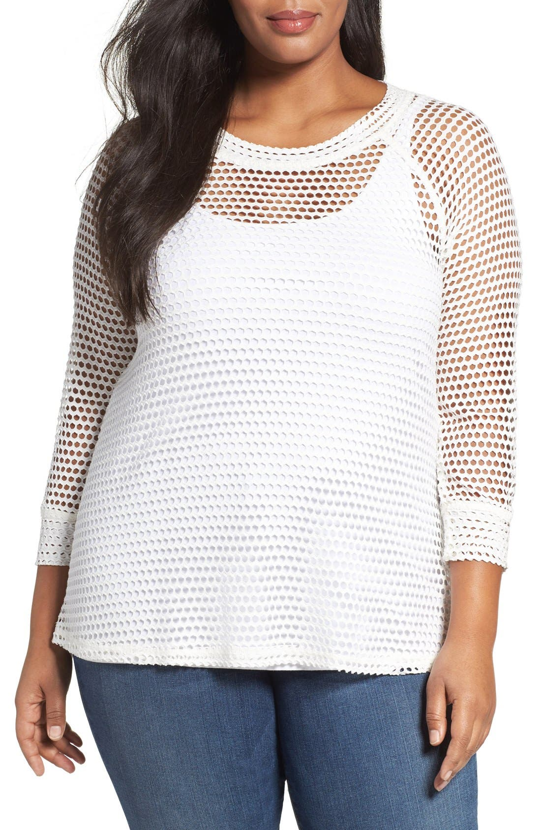 Bobeau Raglan Sleeve Mesh Top (Plus Size)