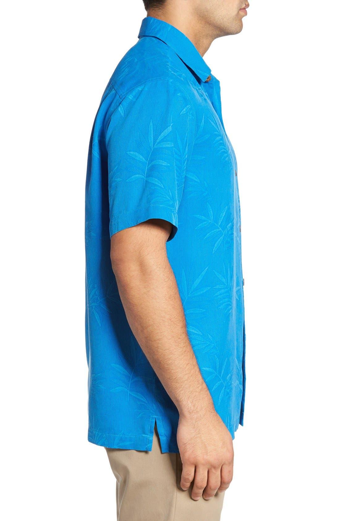 Luau Floral Silk Shirt,                             Alternate thumbnail 3, color,                             Download Blue