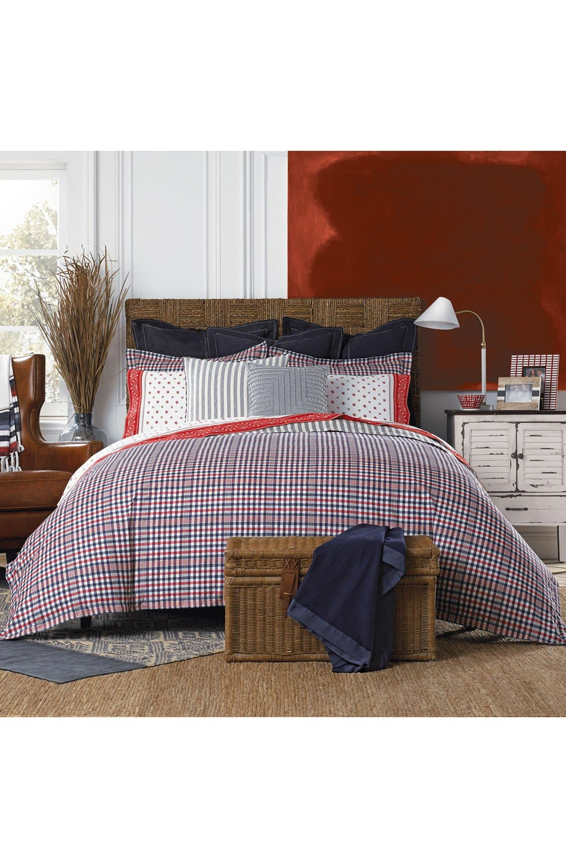Plaid Comforter & Sham Set,                         Main,                         color, Red
