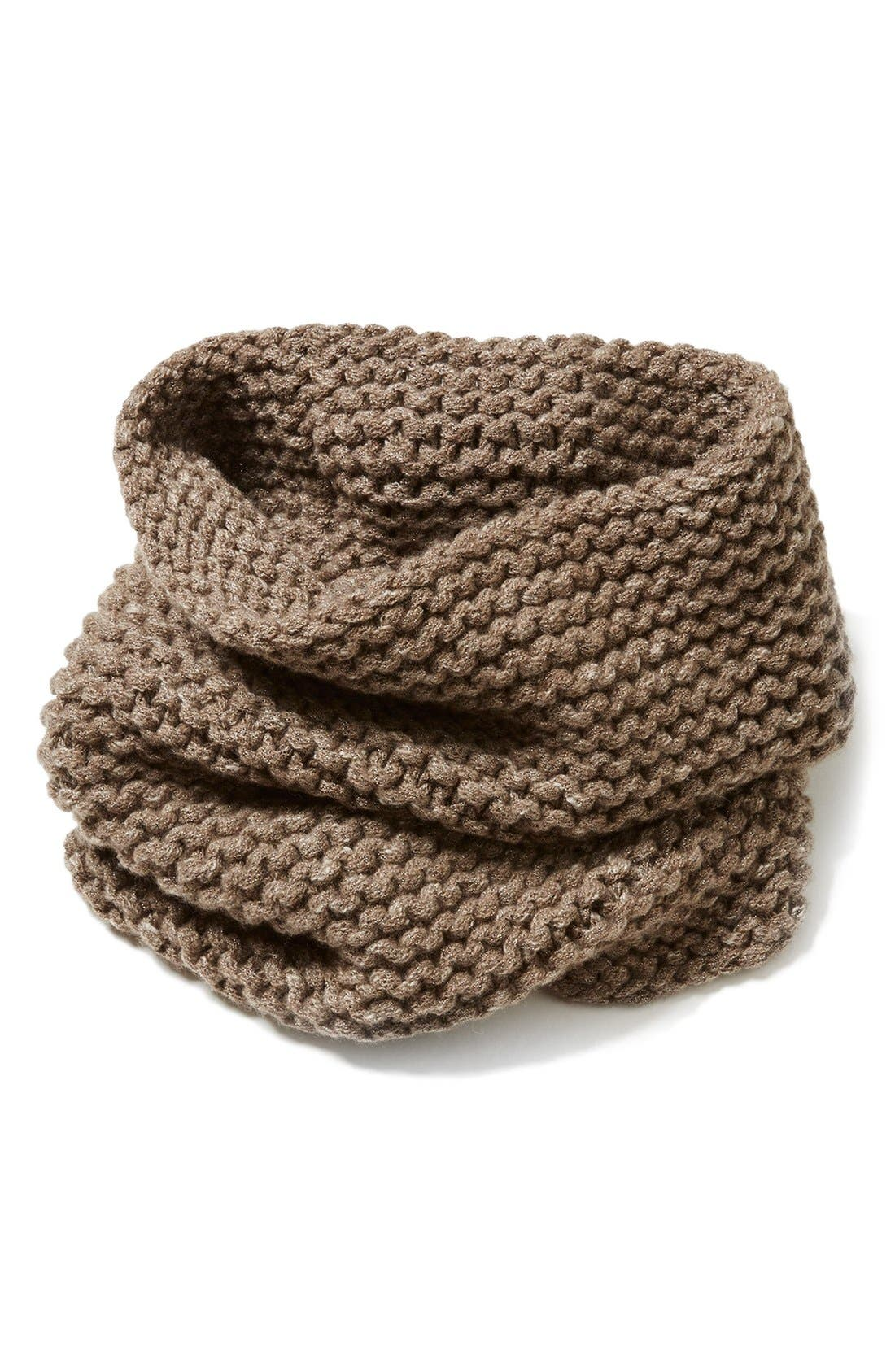 Main Image - Lafayette 148 New York Hand Knit Metallic Cashmere Tube Scarf
