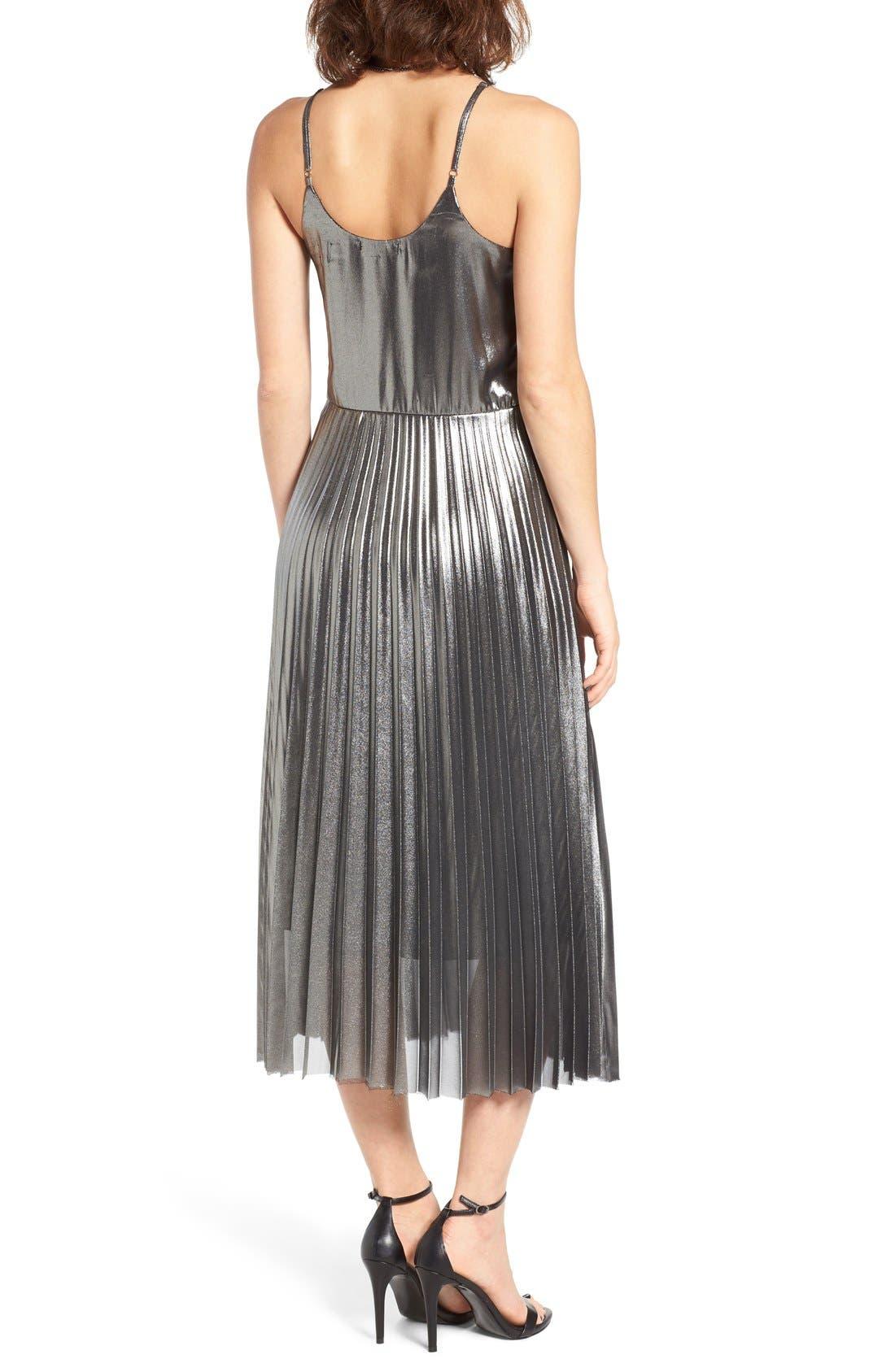 Alternate Image 3  - Love, Fire Pleated Foil Midi Dress