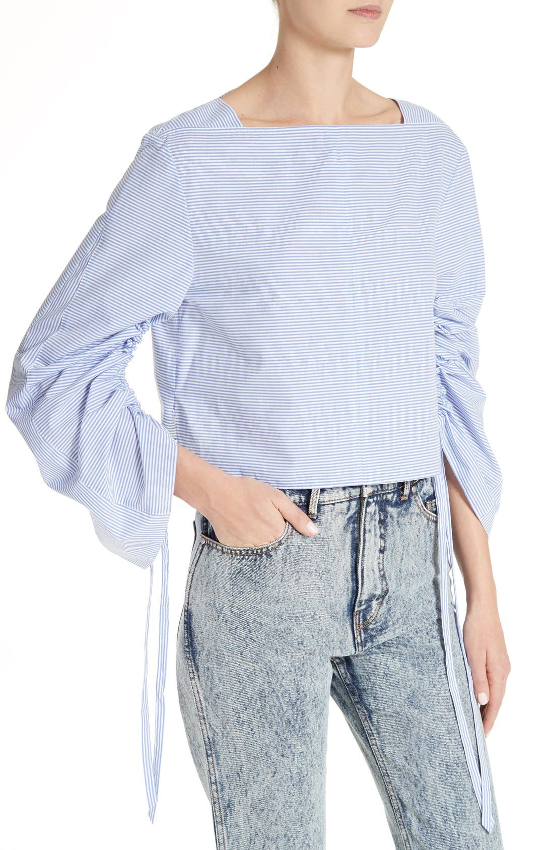 Alternate Image 4  - Tibi Elliot Stripe Bell Sleeve Top