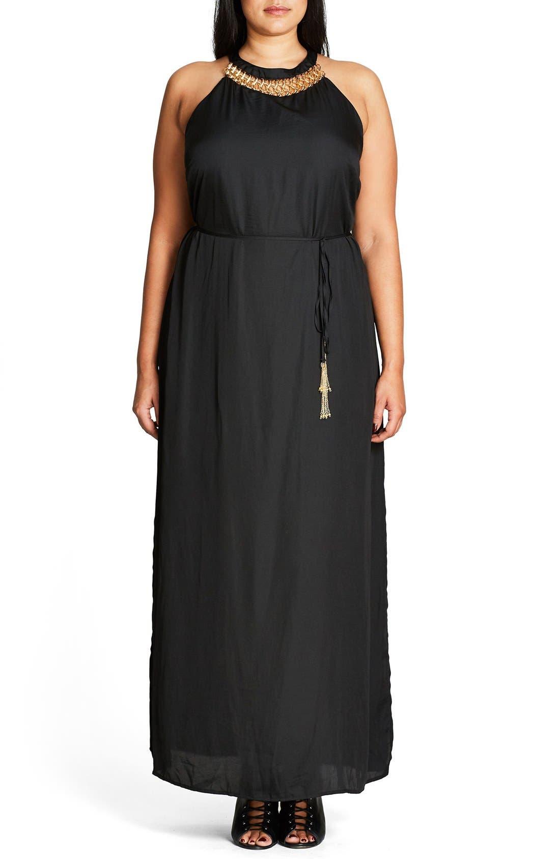 Ring Detail Maxi Dress,                         Main,                         color, Black