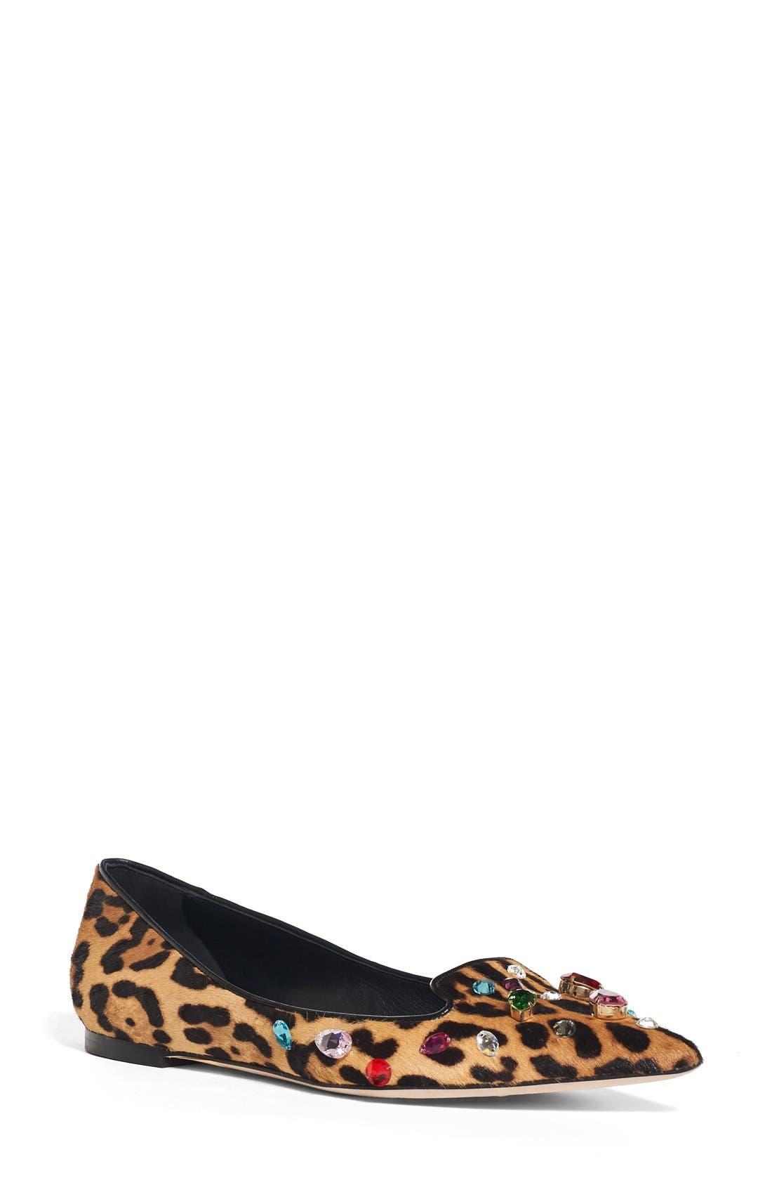 Main Image - Dolce&Gabbana Leo Embellished Leopard Print Flat (Women)