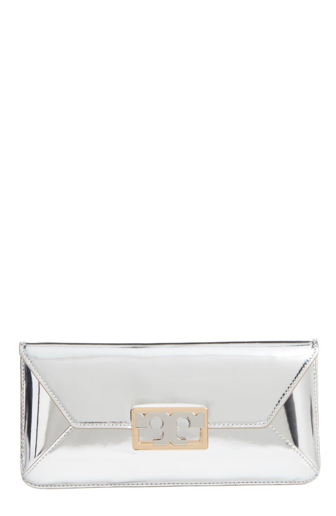 Gigi Metallic Leather Clutch,                             Main thumbnail 1, color,                             Silver Leather Standard