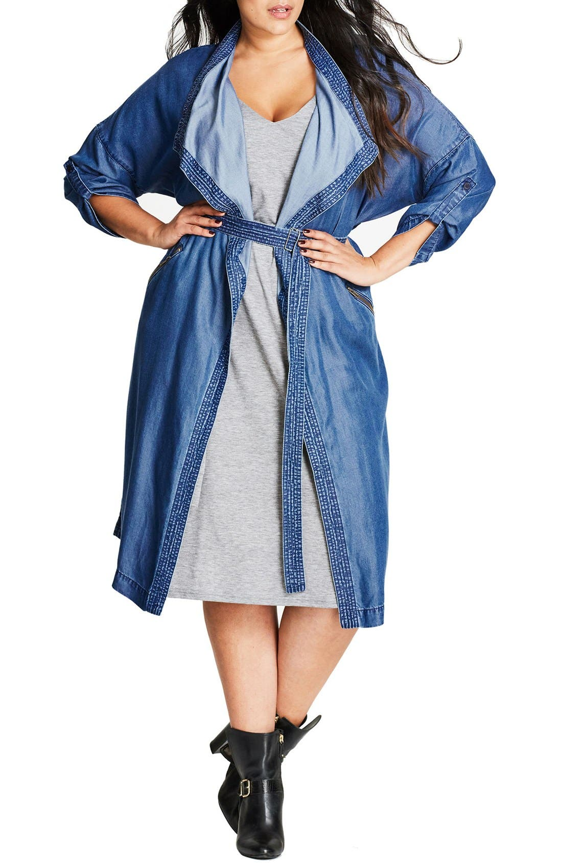 City Chic Wanderer Belted Chambray Jacket (Plus Size)