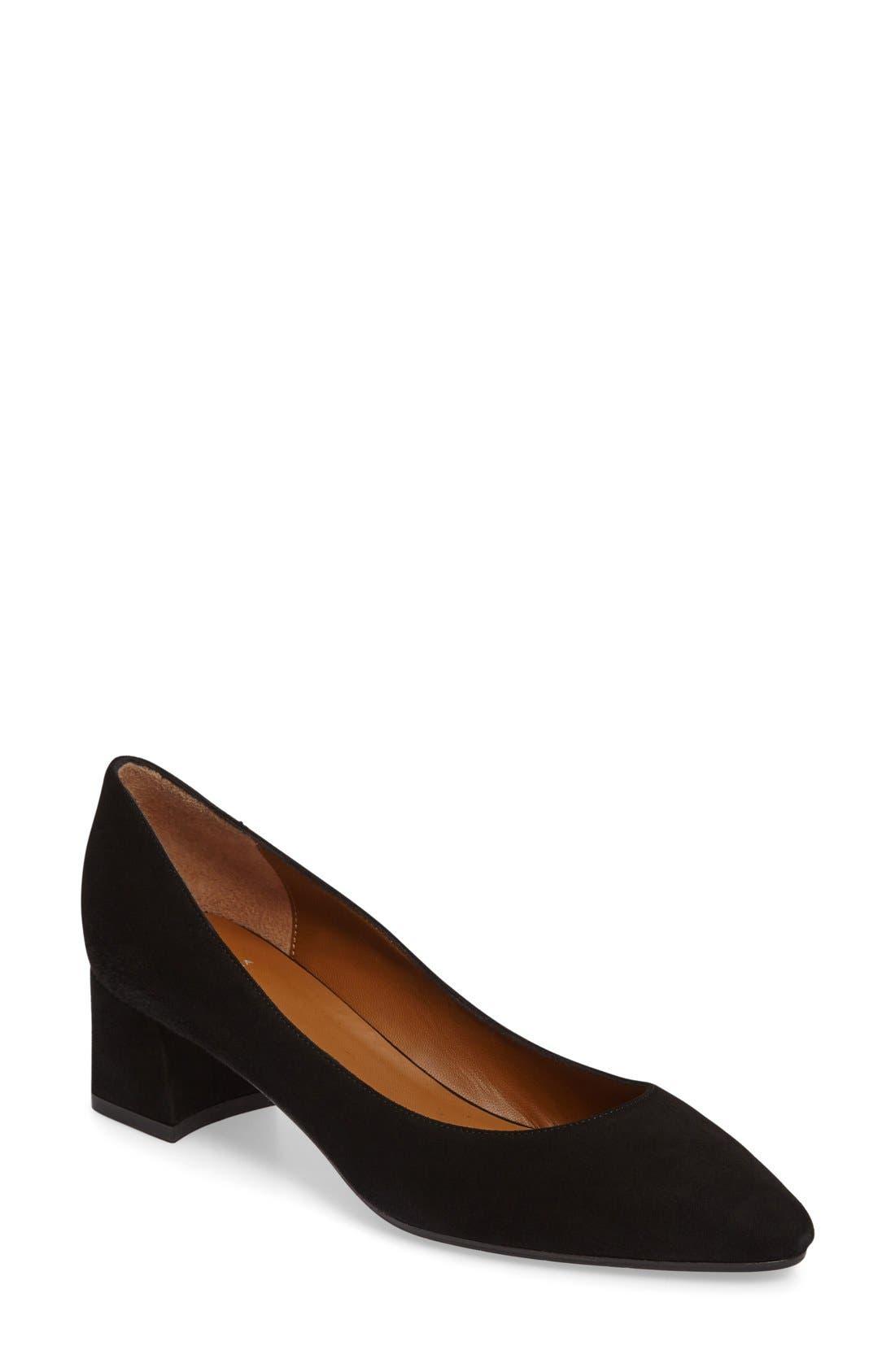 'Pheobe' Weatherproof Almond Toe Pump,                         Main,                         color, Black Suede