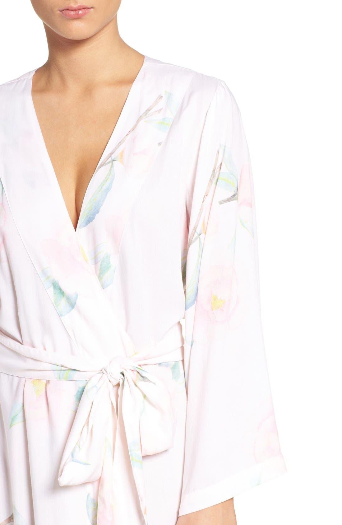 Alternate Image 4  - Plum Pretty Sugar Oracle Floral Print Kimono Robe