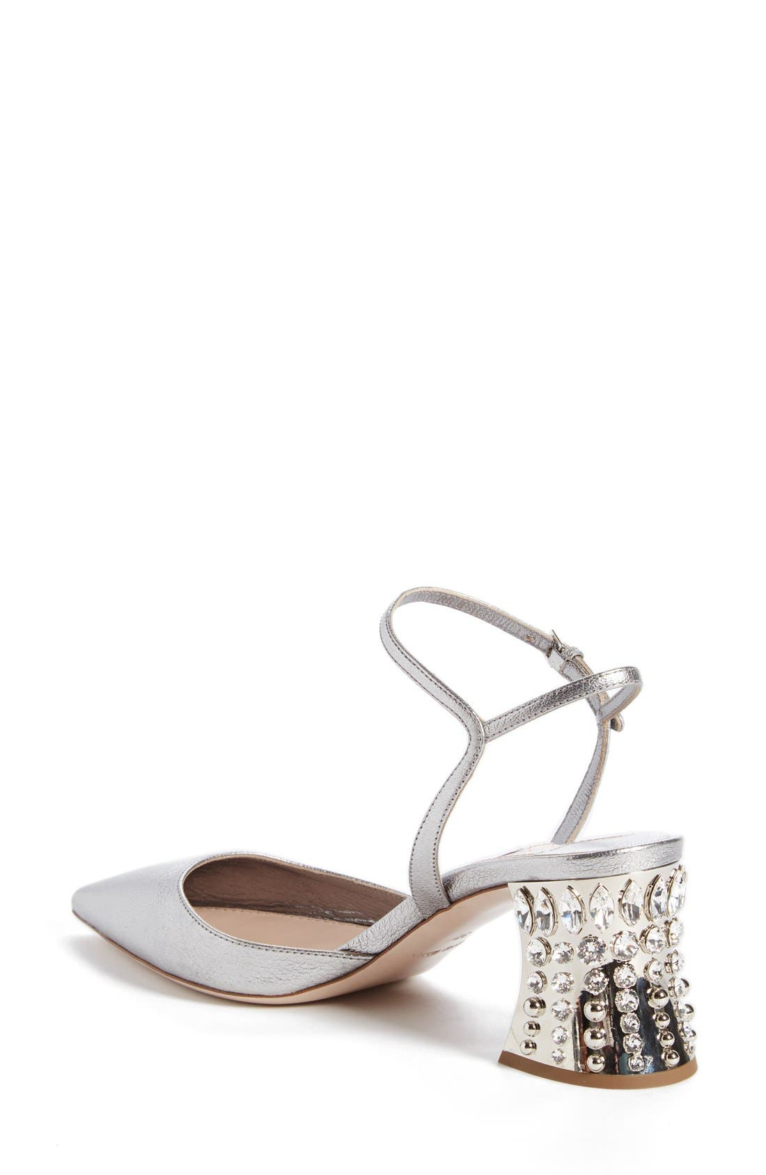 Jeweled Heel Ankle Strap Pump,                             Alternate thumbnail 2, color,                             Metallic Silver Leather