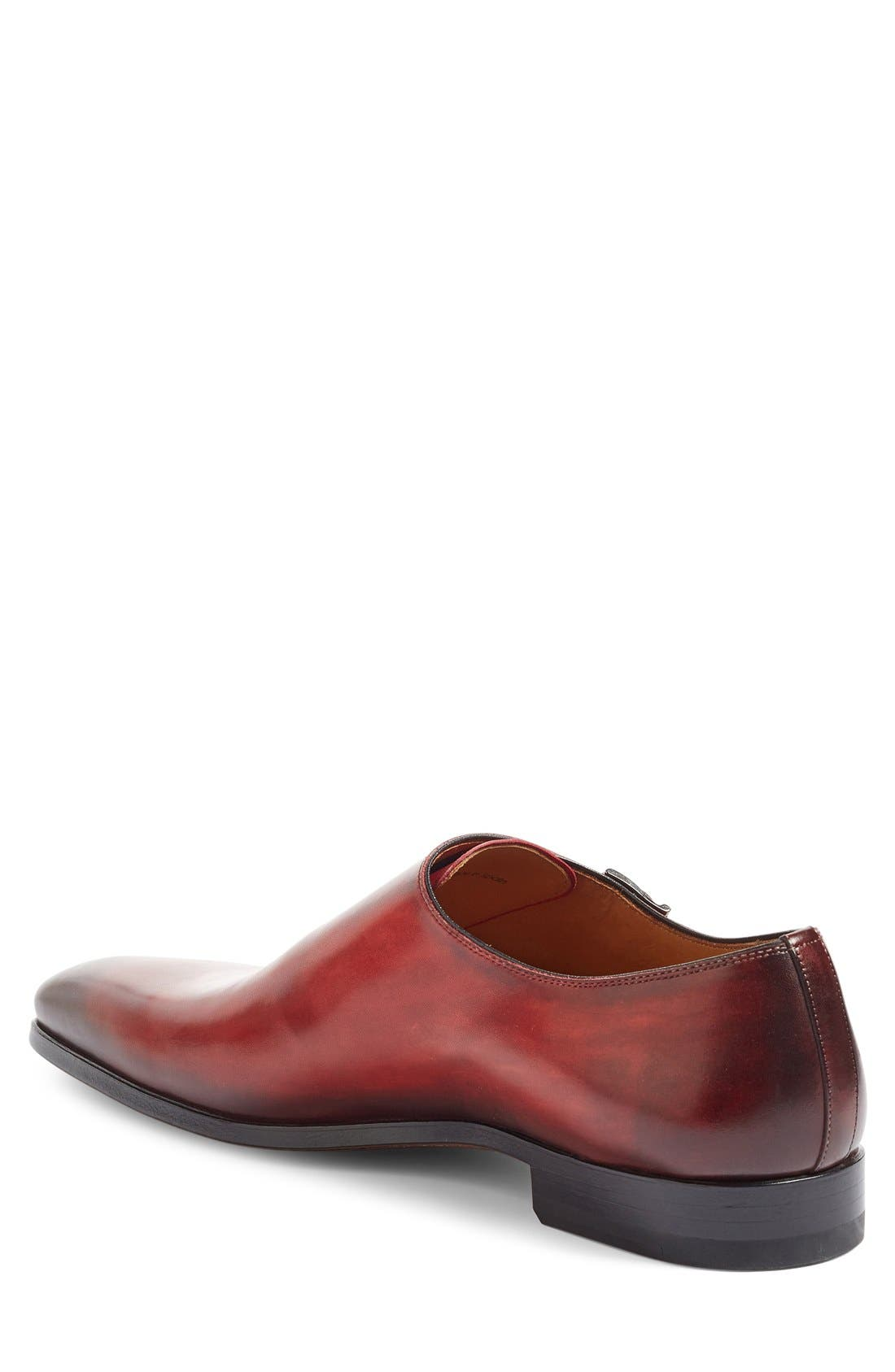 Jamin Double Monk Strap Shoe,                             Alternate thumbnail 2, color,                             Red Leather