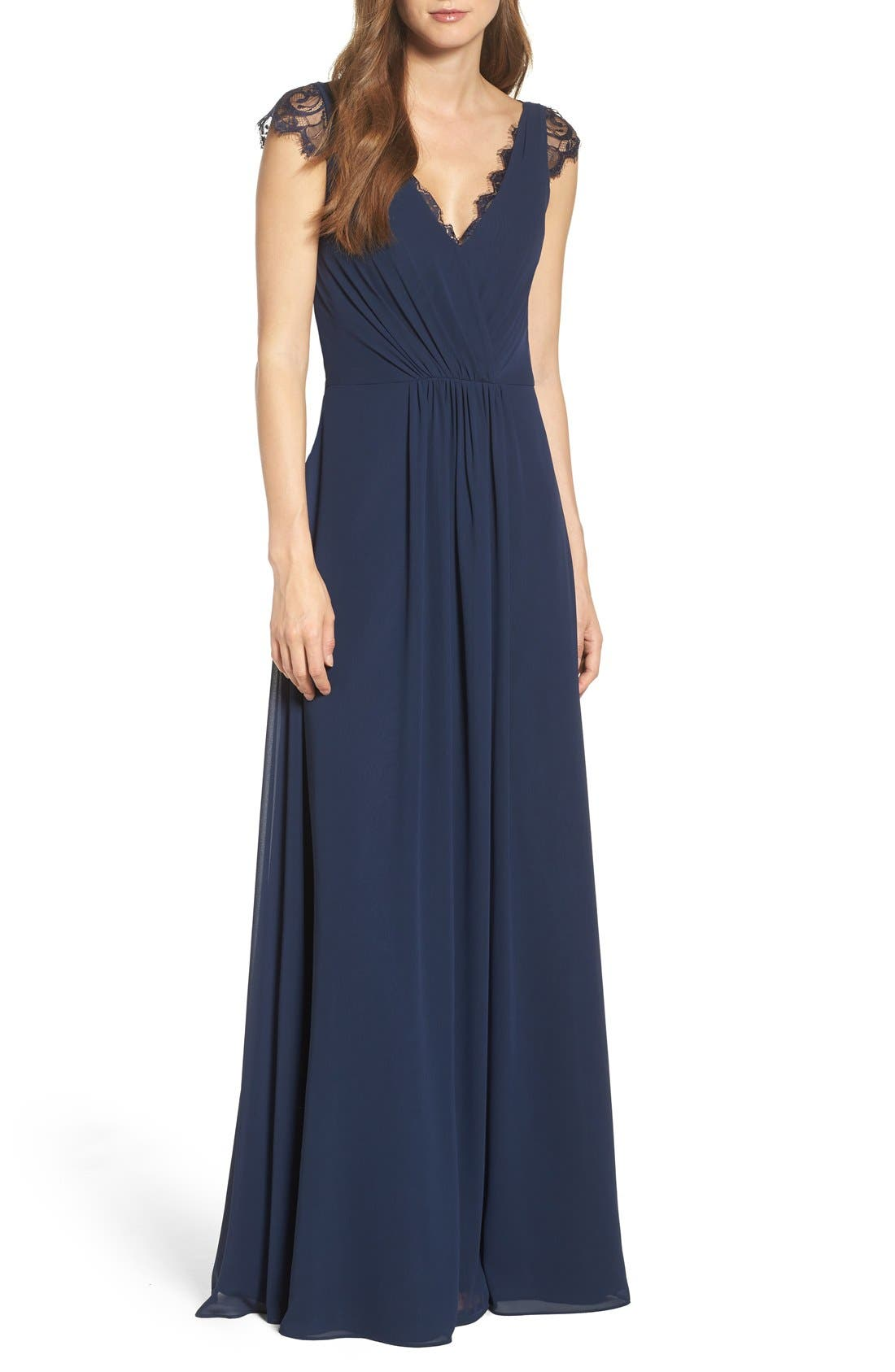 Lace & Chiffon Cap Sleeve Gown,                             Main thumbnail 1, color,                             Navy