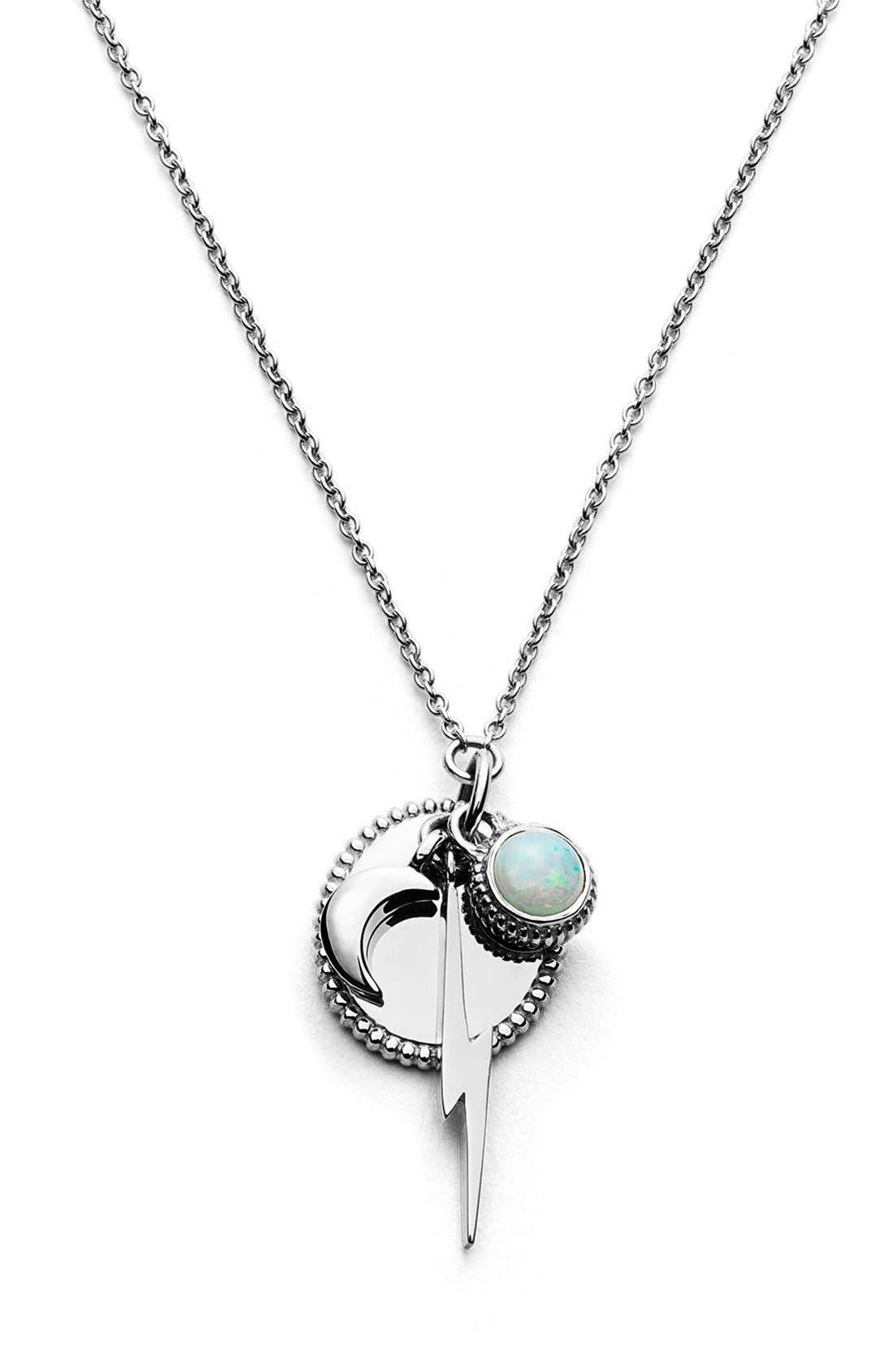 Bolt Cluster Pendant Necklace,                         Main,                         color, Sterling Silver