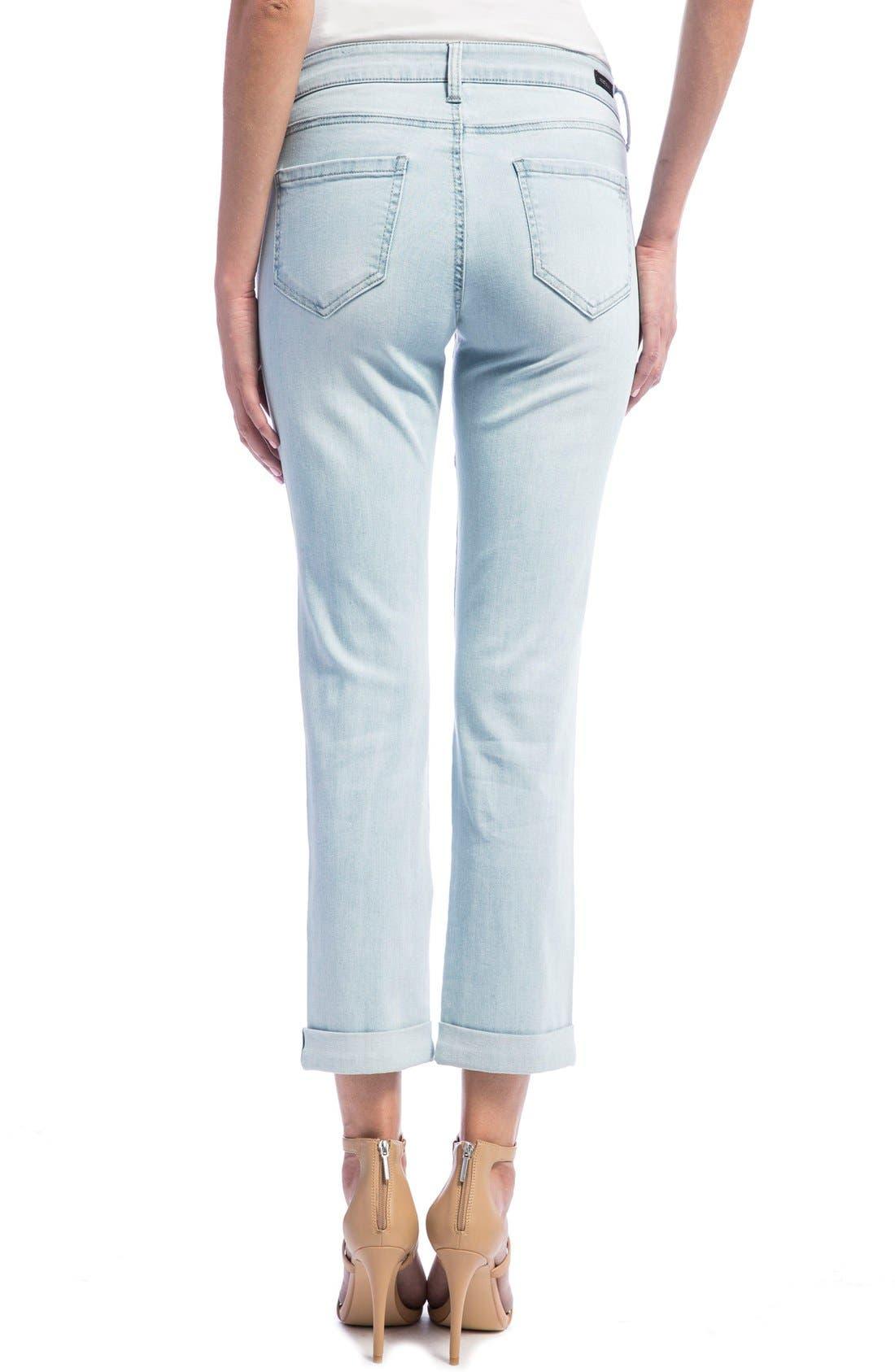 Peyton Slim Stretch Crop Boyfriend Jeans,                             Alternate thumbnail 2, color,                             Super Bleach Out