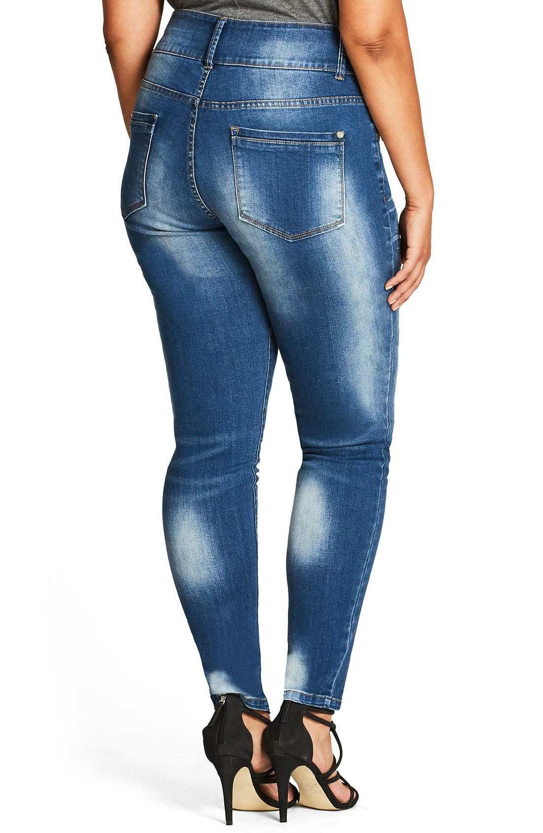 Ocean Apple Stretch Skinny Jeans,                             Alternate thumbnail 2, color,                             Mid Denim