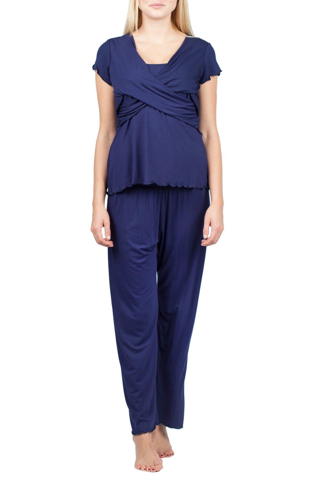 Sophia Maternity/Nursing Pajamas,                             Main thumbnail 1, color,                             Estate Blue