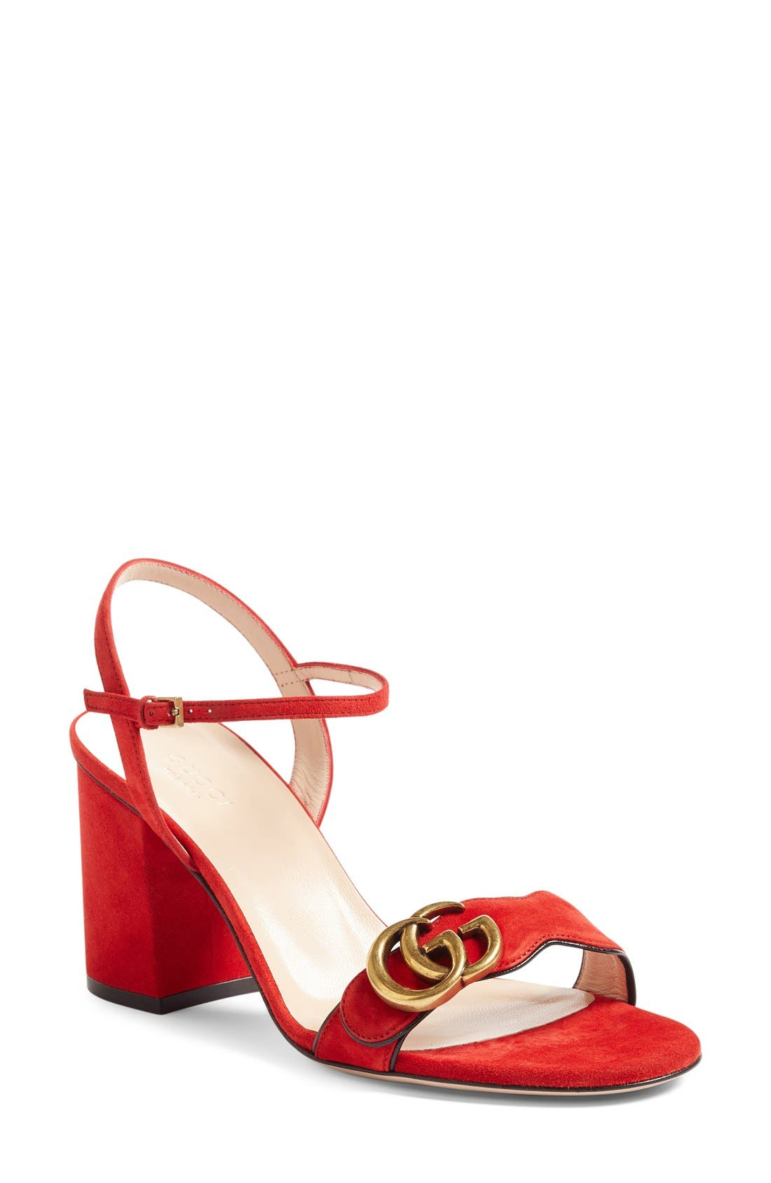 GG Marmont Sandal,                             Main thumbnail 1, color,                             Red Suede