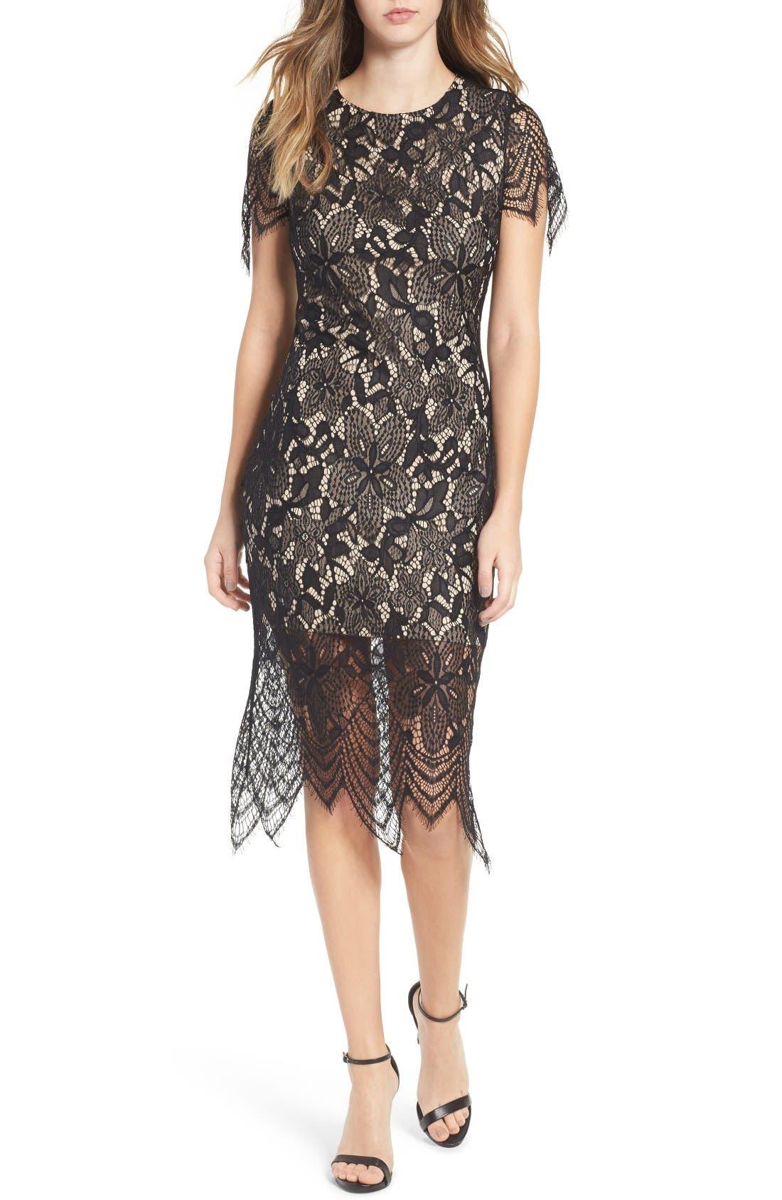 Scallop Lace Dress,                             Main thumbnail 1, color,                             Black