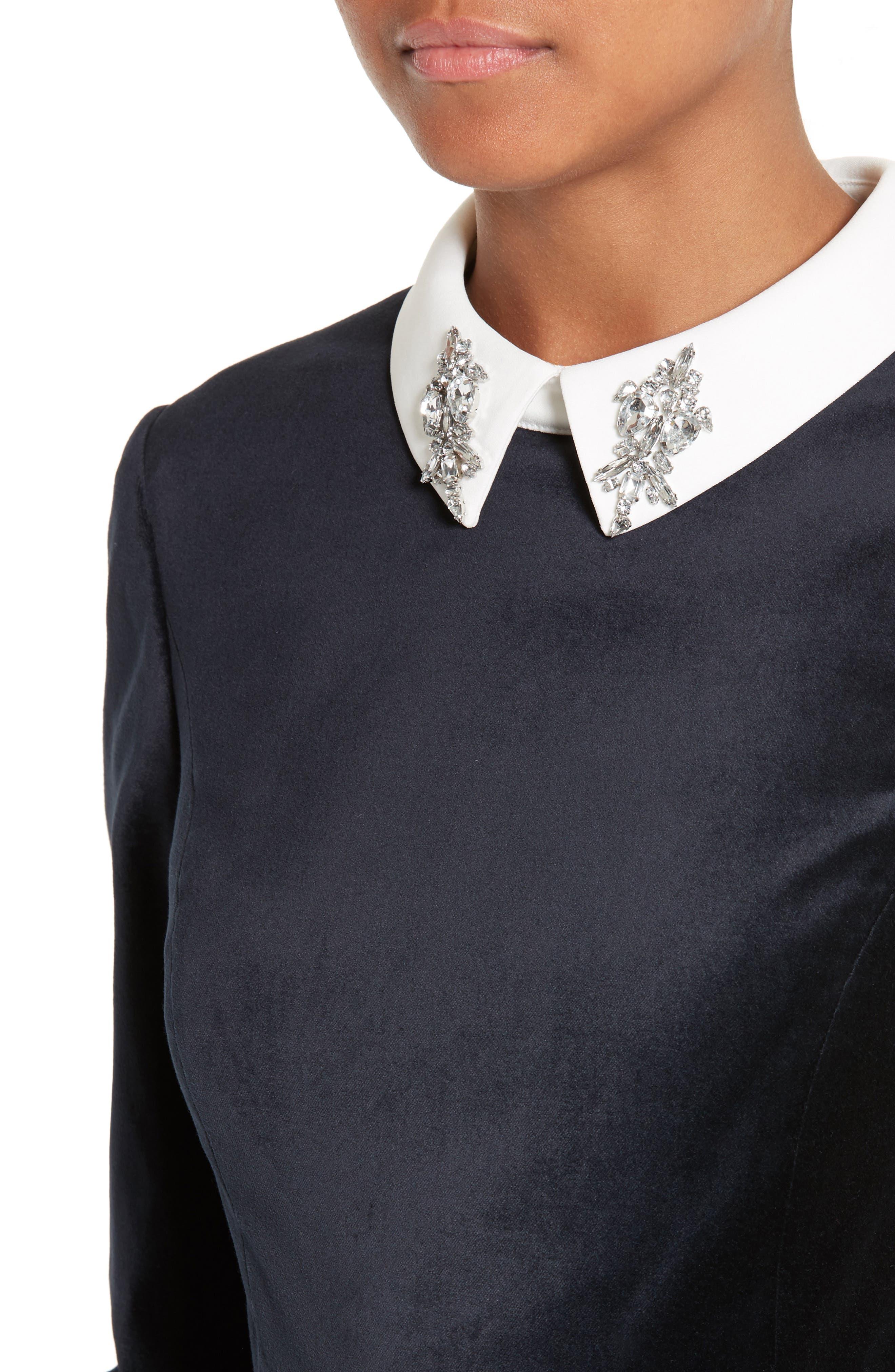 Cheryll Embellished Collar Velvet Dress,                             Alternate thumbnail 4, color,                             Blue