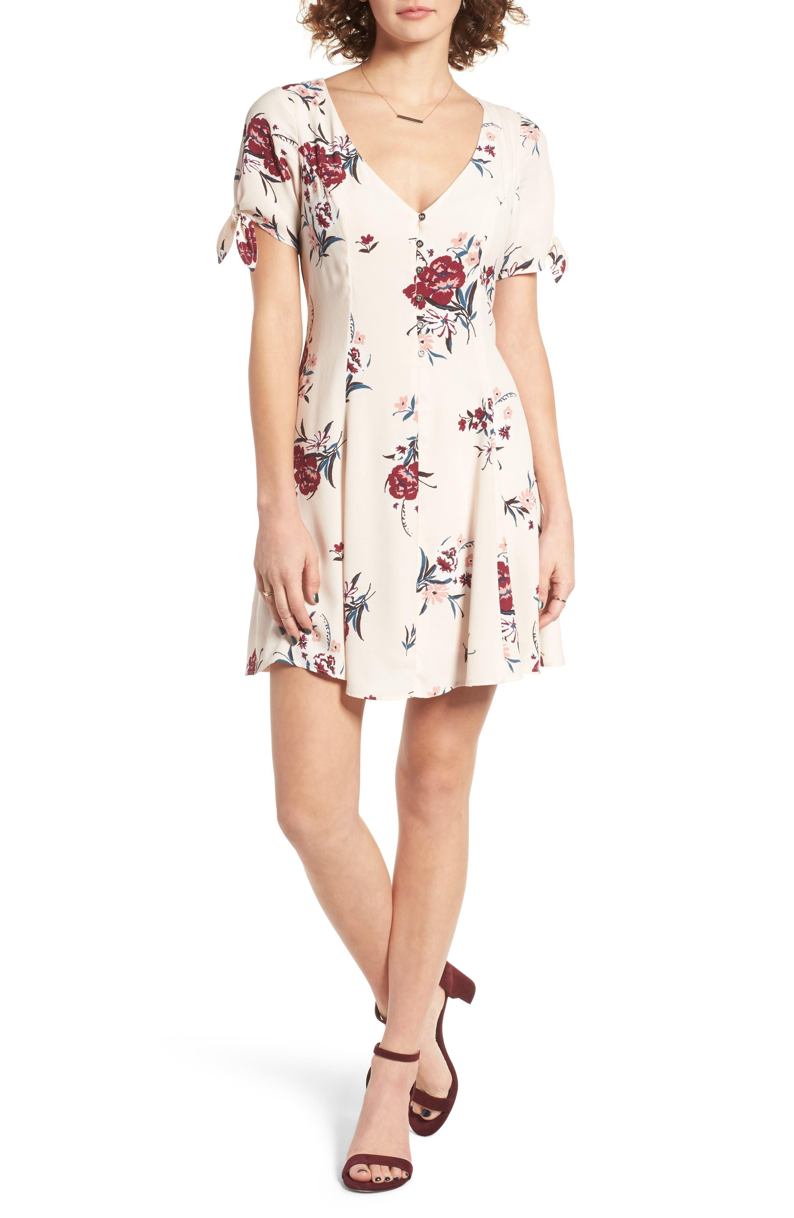 Tie Sleeve Dress,                             Main thumbnail 1, color,                             Blush Multi Floral