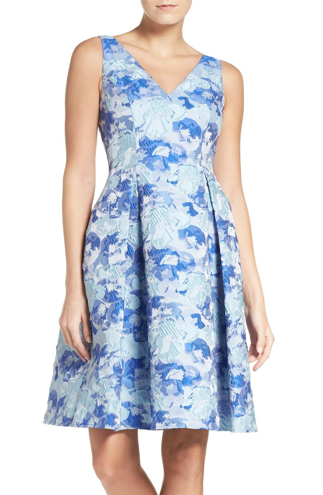 Floral Fit & Flare Dress,                         Main,                         color, Blue Multi