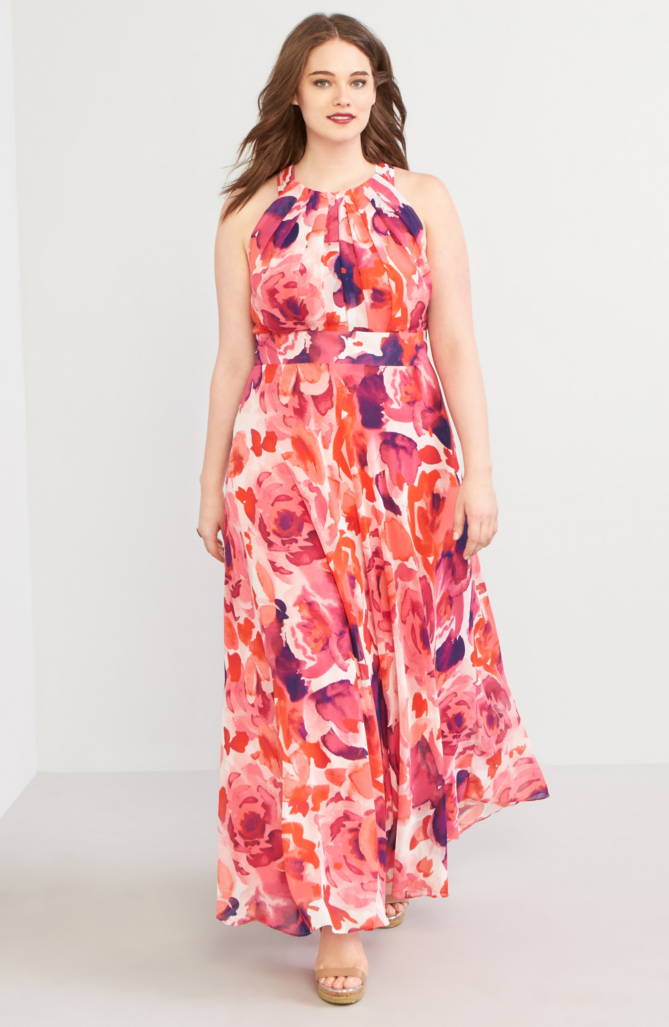 Floral Print Halter Maxi Dress,                             Alternate thumbnail 2, color,                             Pink