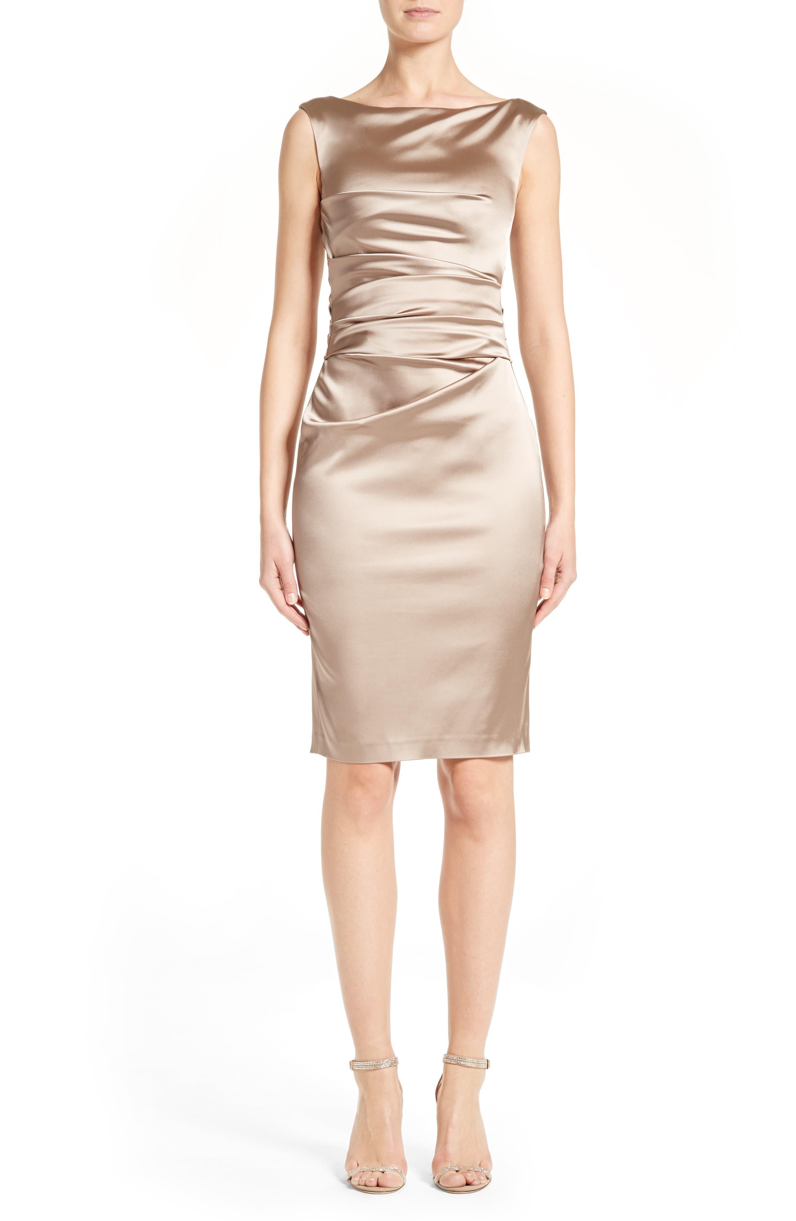 Stretch Satin Sheath Dress,                         Main,                         color, Stone