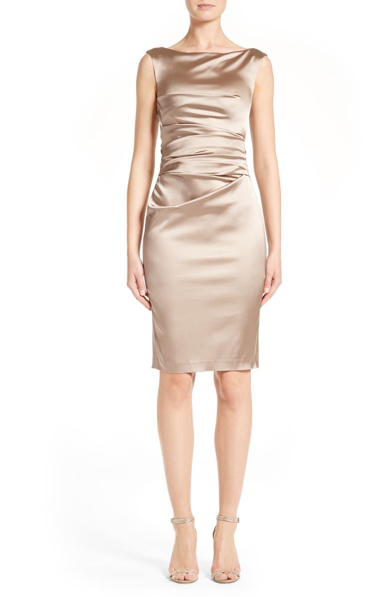 Stretch Satin Sheath Dress