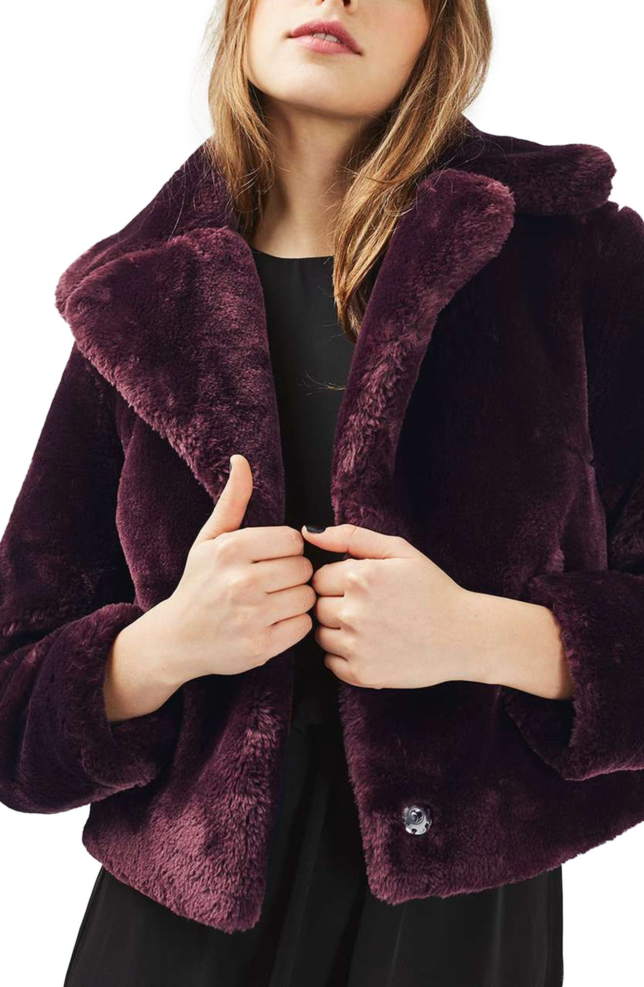 Main Image - Topshop Crop Faux Fur Coat