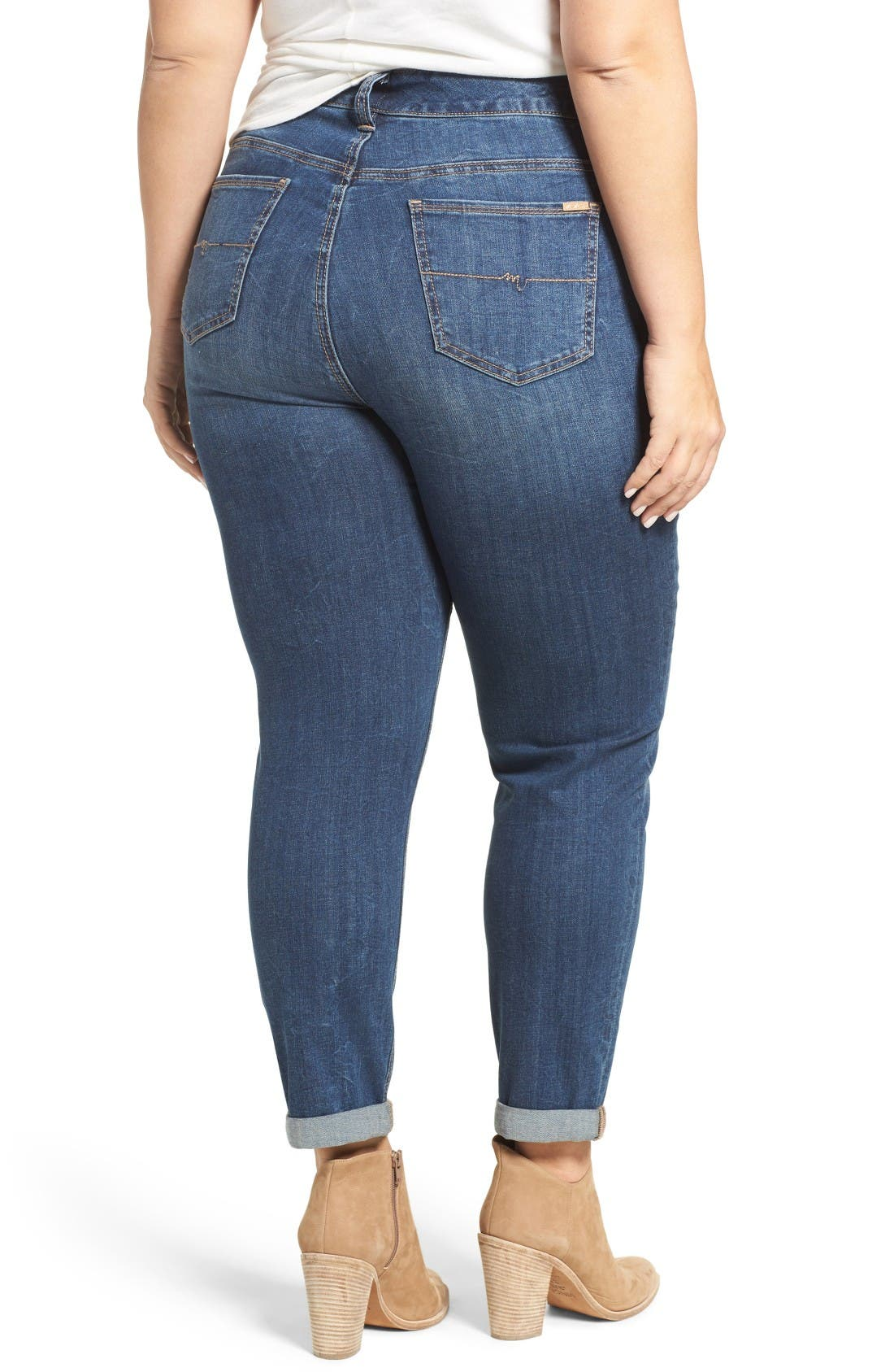 Alternate Image 2  - Melissa McCarthy Seven7 Stretch Straight Leg Jeans (Bonafide) (Plus Size)