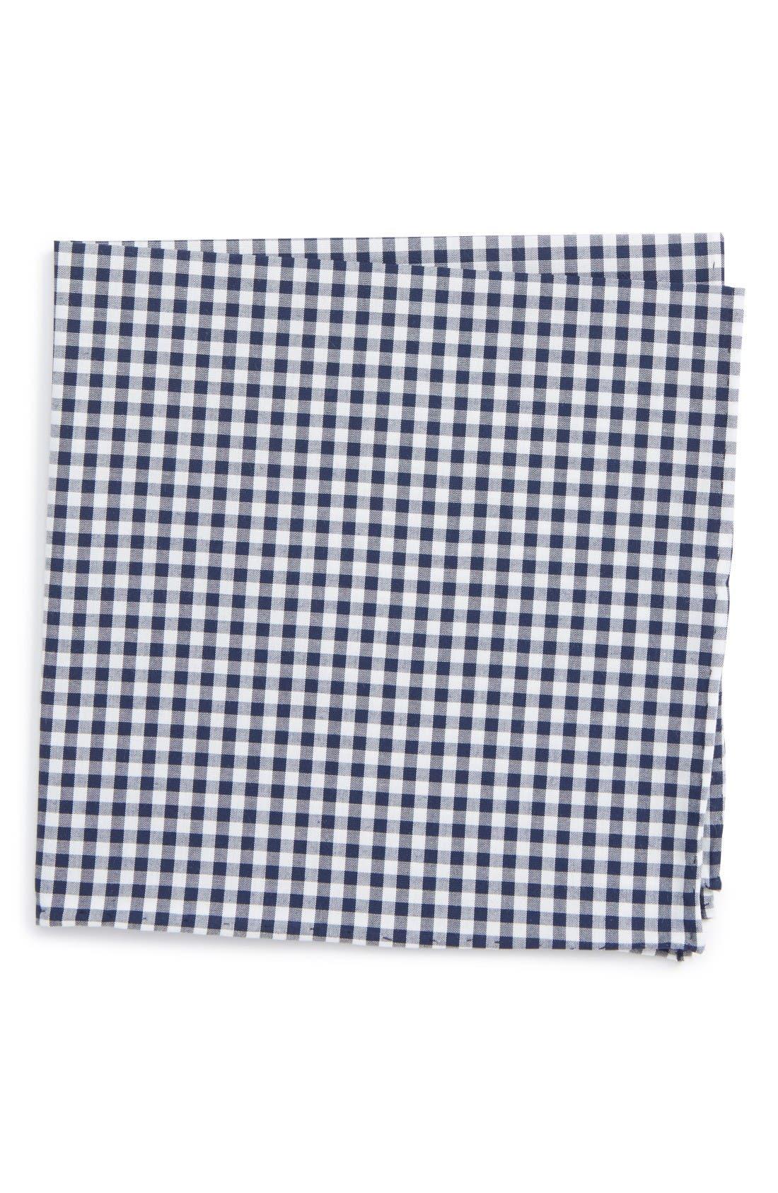 Check Cotton Pocket Square,                         Main,                         color, Navy