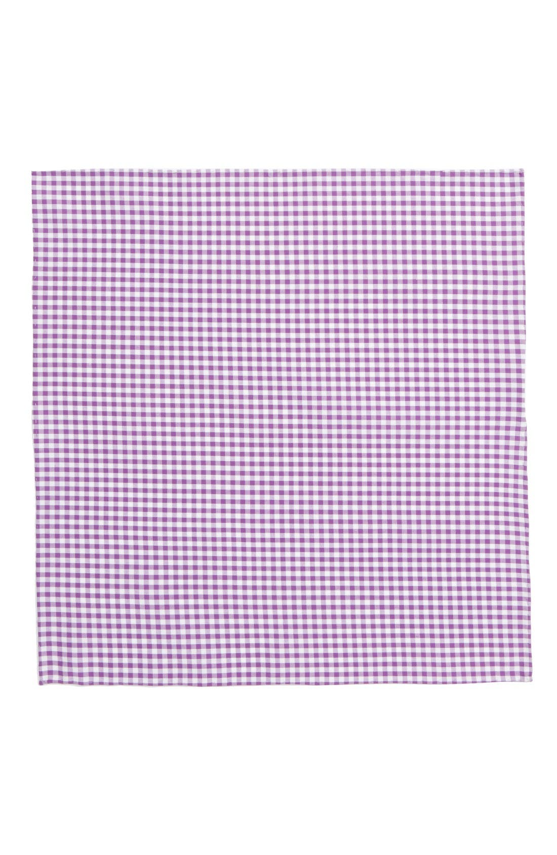 Novel Check Cotton Pocket Square,                             Alternate thumbnail 2, color,                             Plum