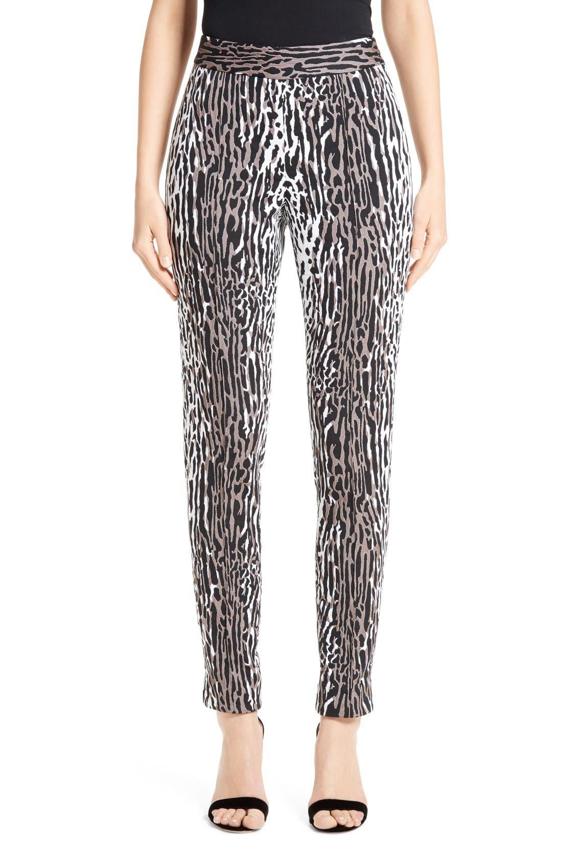 Main Image - St. John Collection Leopard Jacquard Ankle Pants
