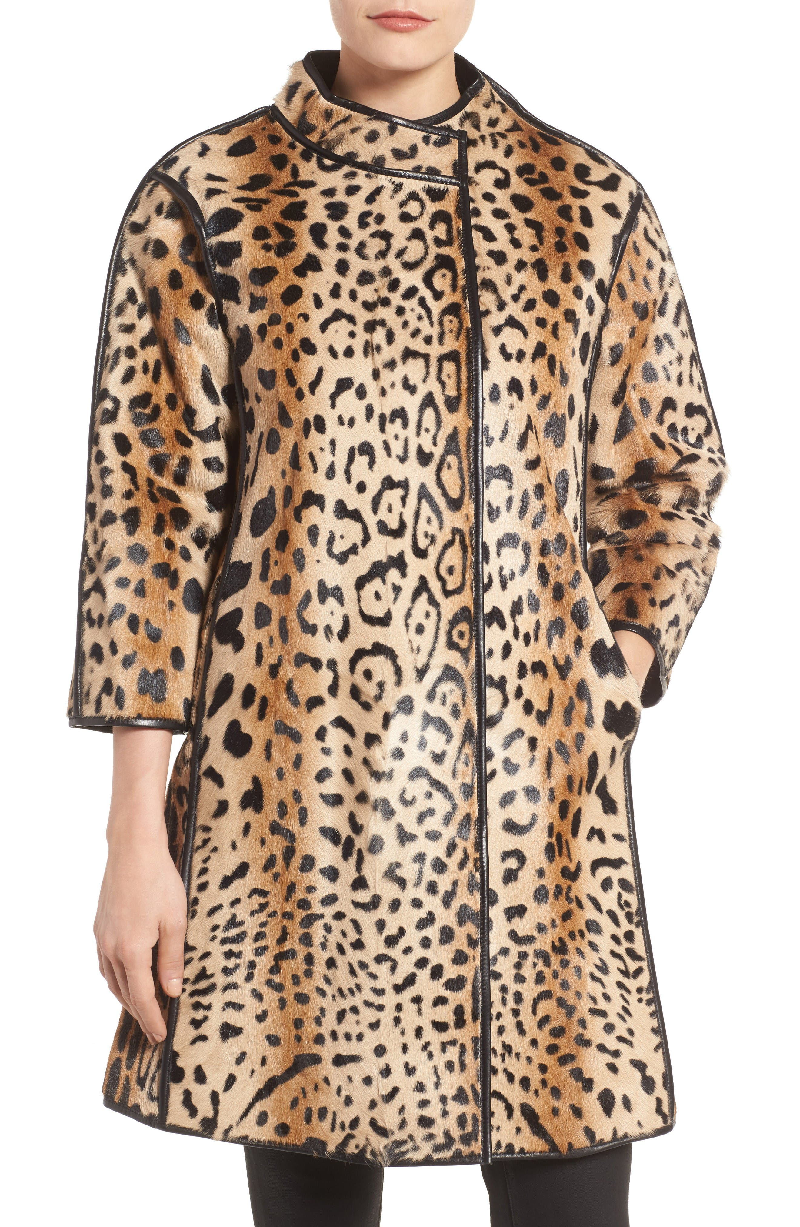 Main Image - Linda Richards Leopard Print Goat Fur Coat