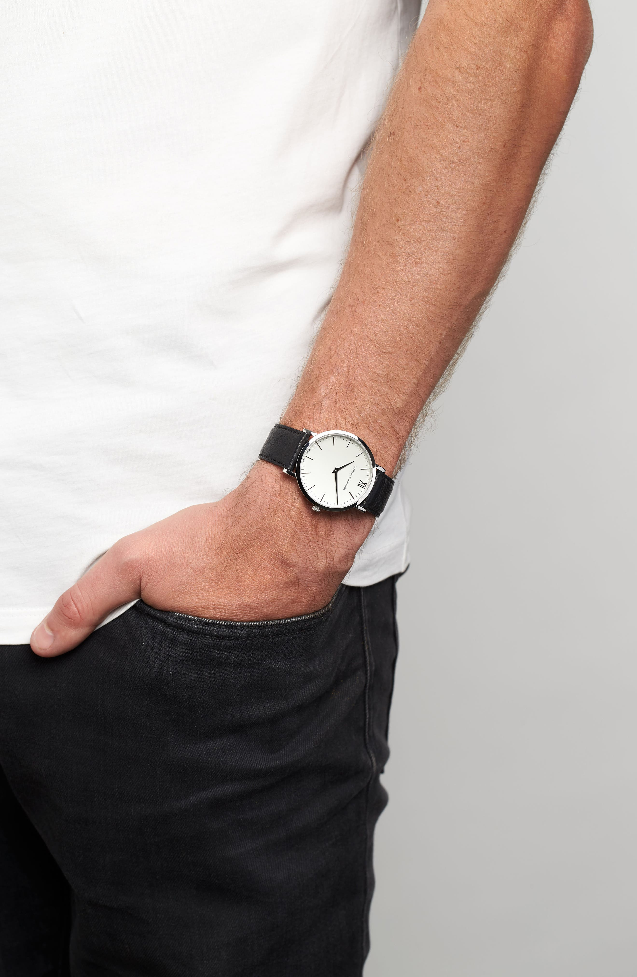 'Lugano' Leather Strap Watch, 40mm,                             Alternate thumbnail 8, color,                             Black/ White