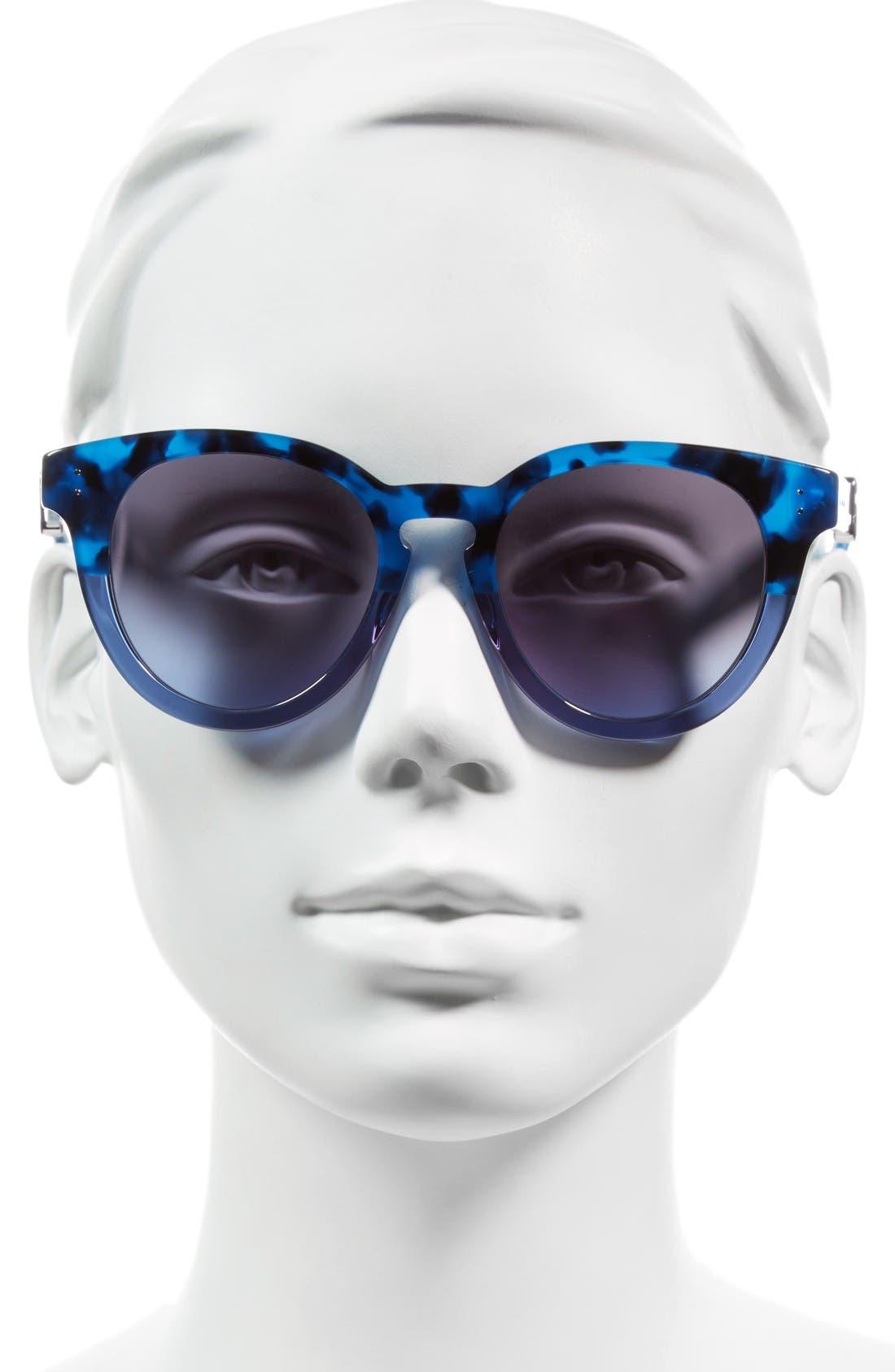 50mm Round Sunglasses,                             Alternate thumbnail 2, color,                             Blue Havana