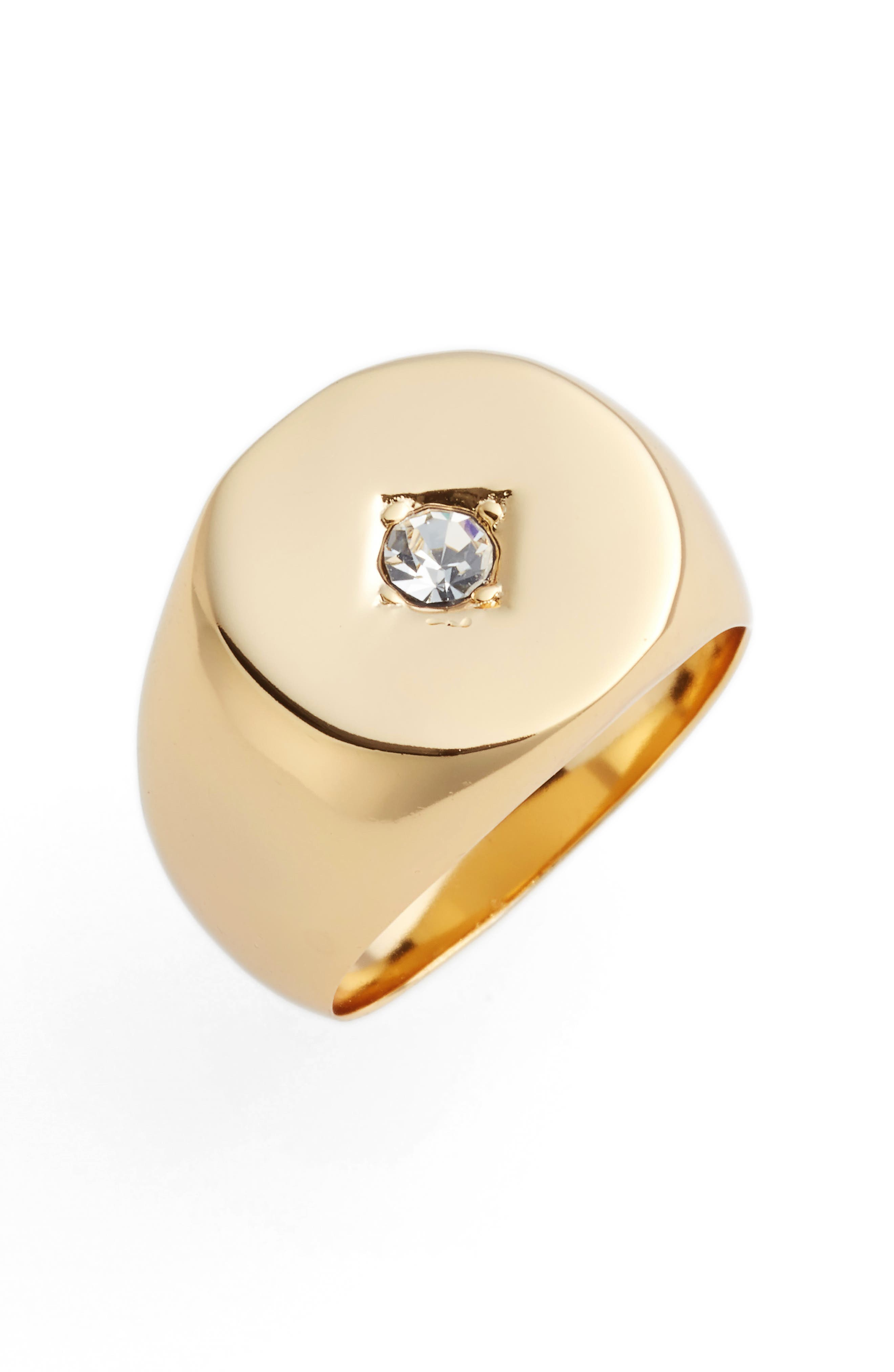 Tulum Signet Ring,                         Main,                         color, Gold/ Clear