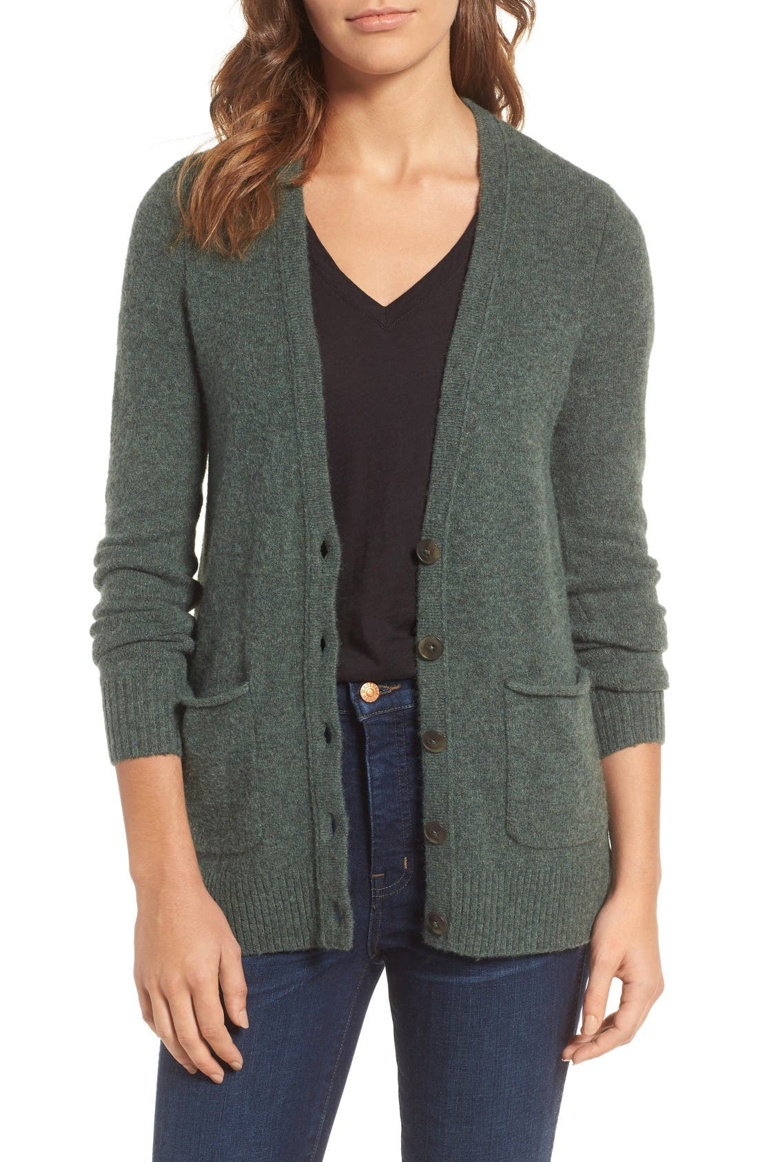 Cozy Boyfriend Cardigan,                             Main thumbnail 1, color,                             Heather Evergreen