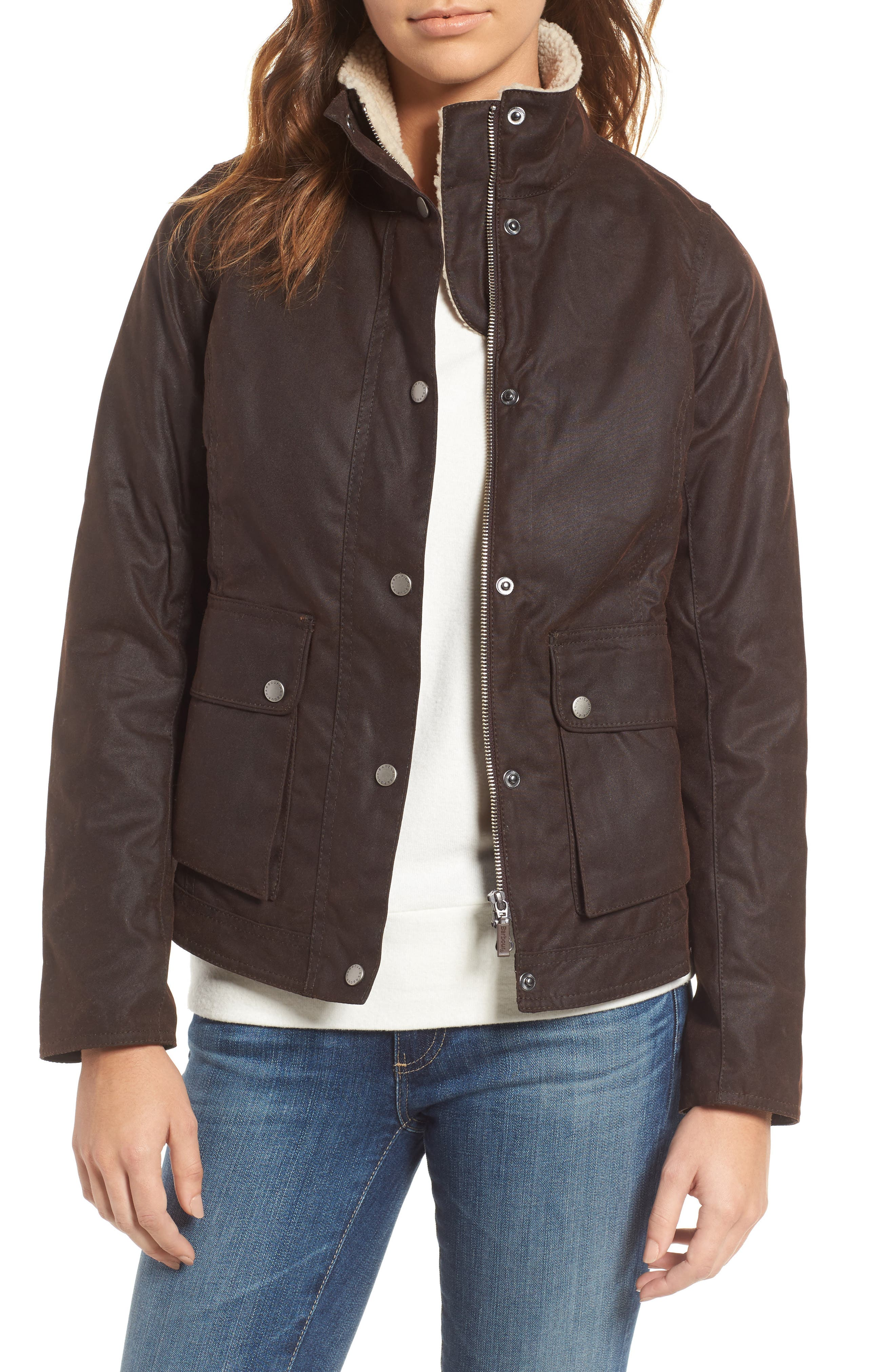 Main Image - Barbour Cushat Faux Shearling Trim Waxed Jacket