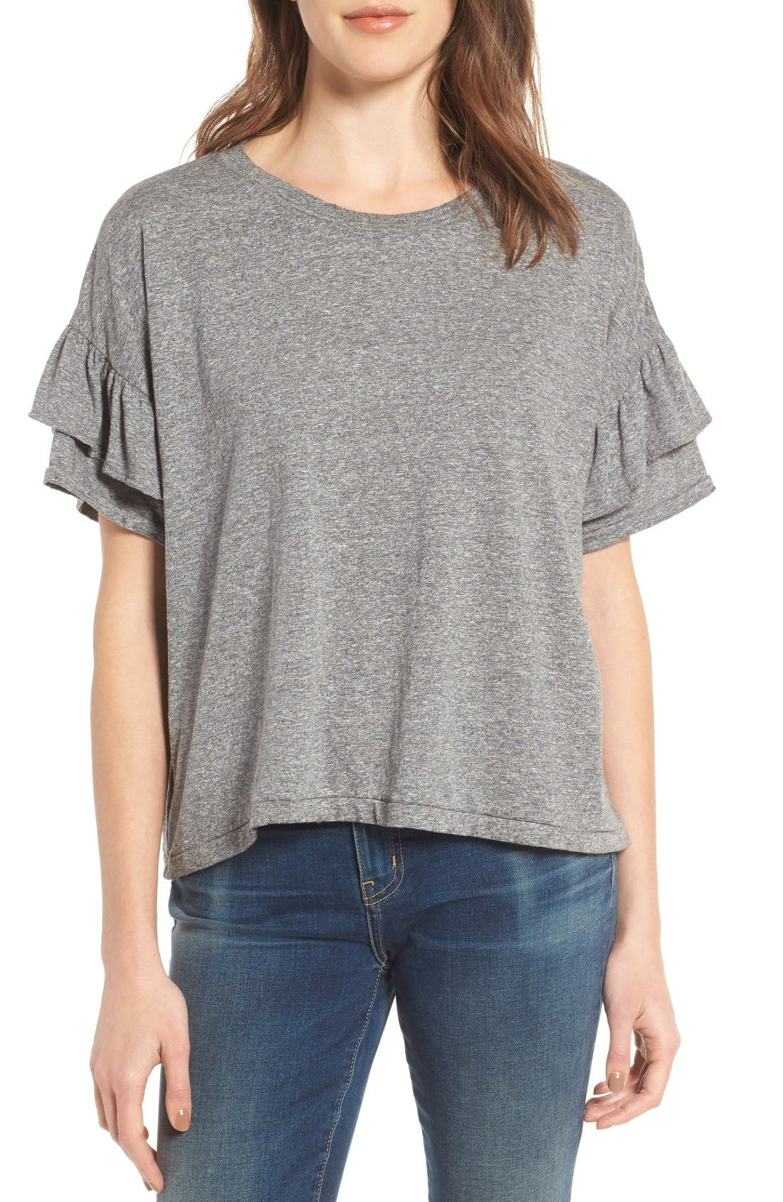 The Roadie Ruffle Tee,                         Main,                         color, Heather Grey