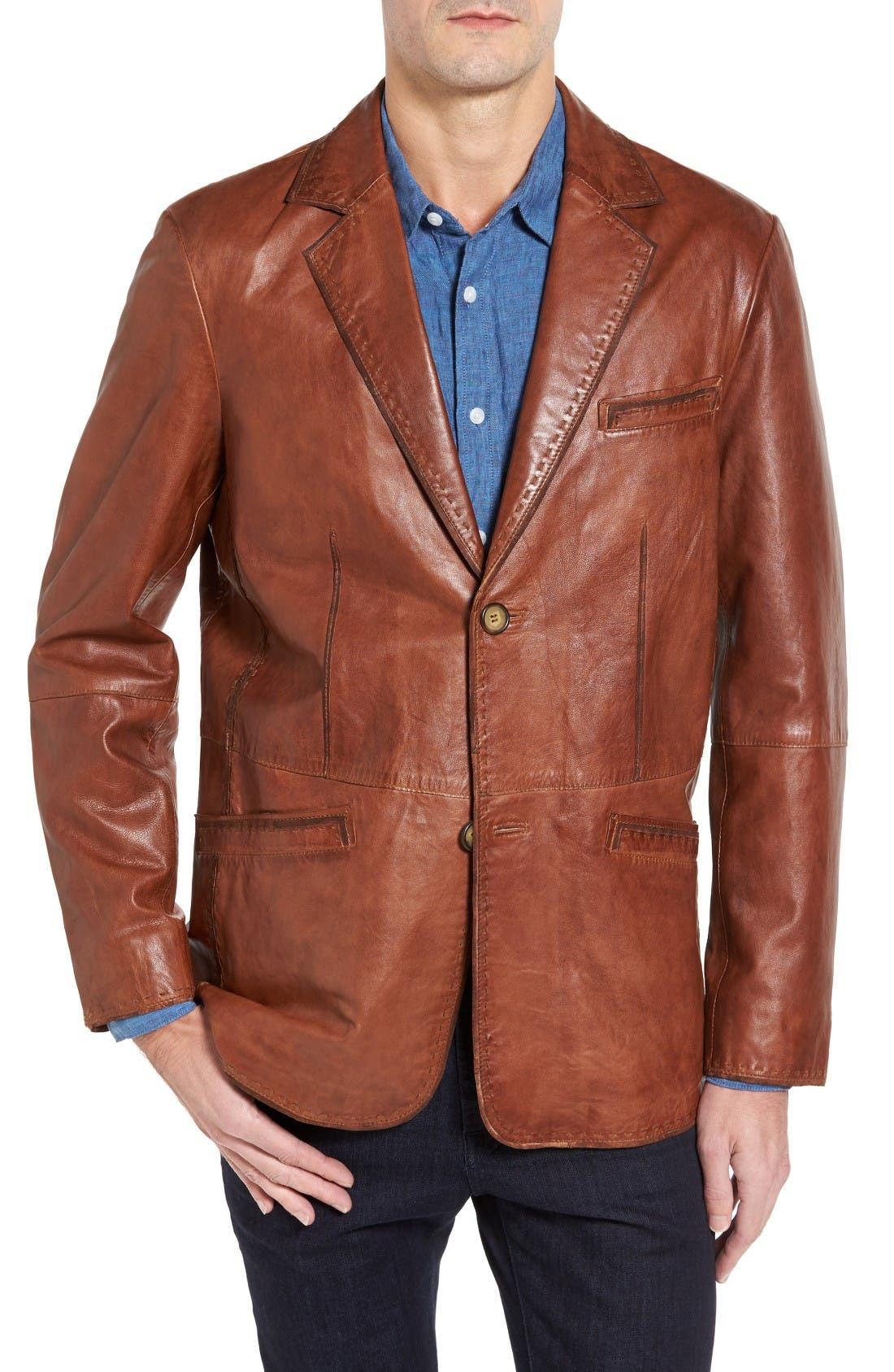 Main Image - Missani le Collezioni Lamb Leather Blazer