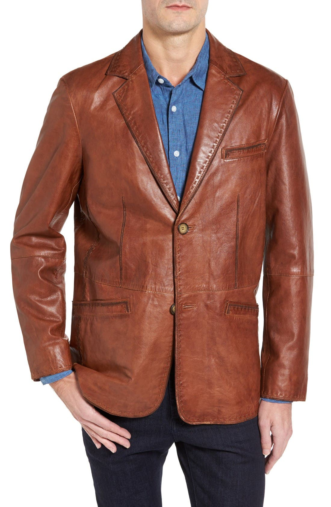 Lamb Leather Blazer,                         Main,                         color, Cognac