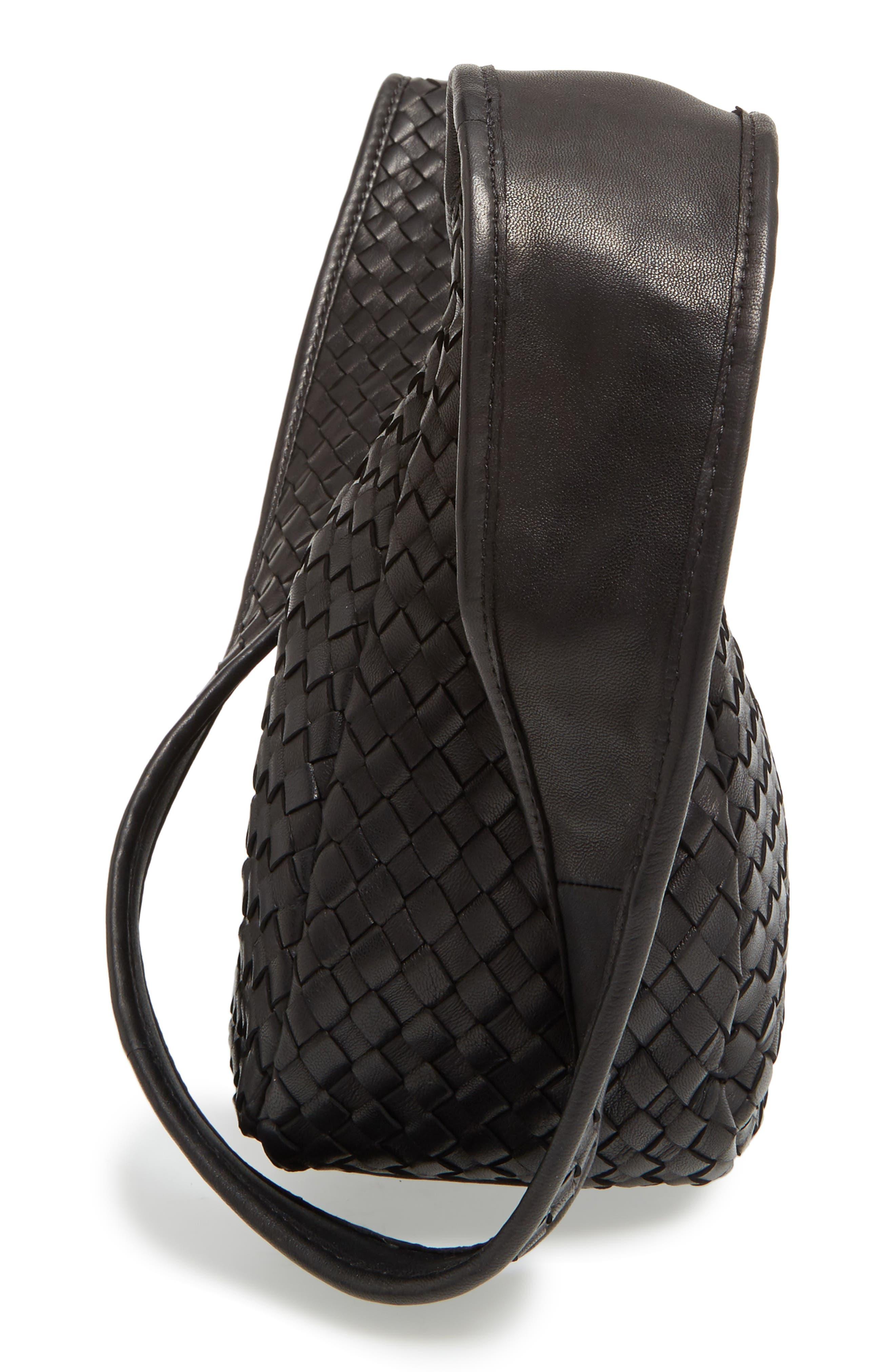 Small Delia Leather Hobo,                             Alternate thumbnail 5, color,                             Black