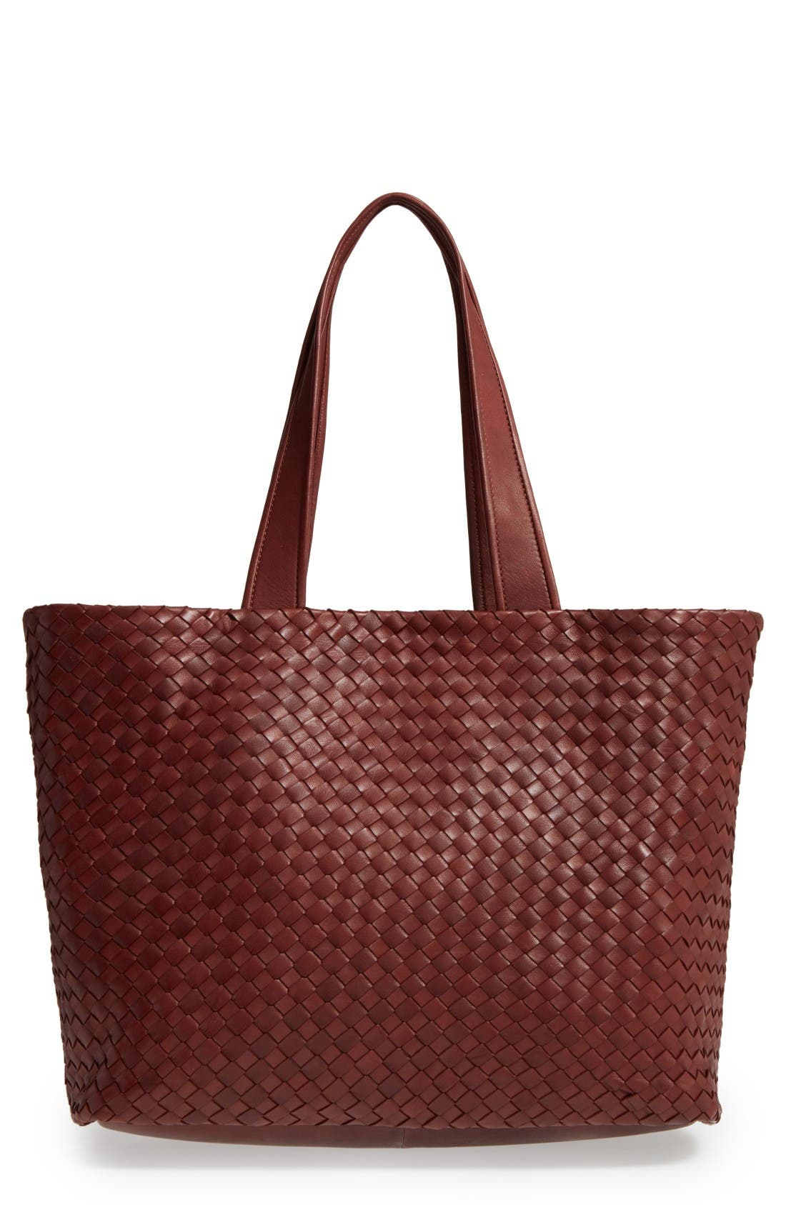 Rina Leather Tote,                         Main,                         color, Luggage