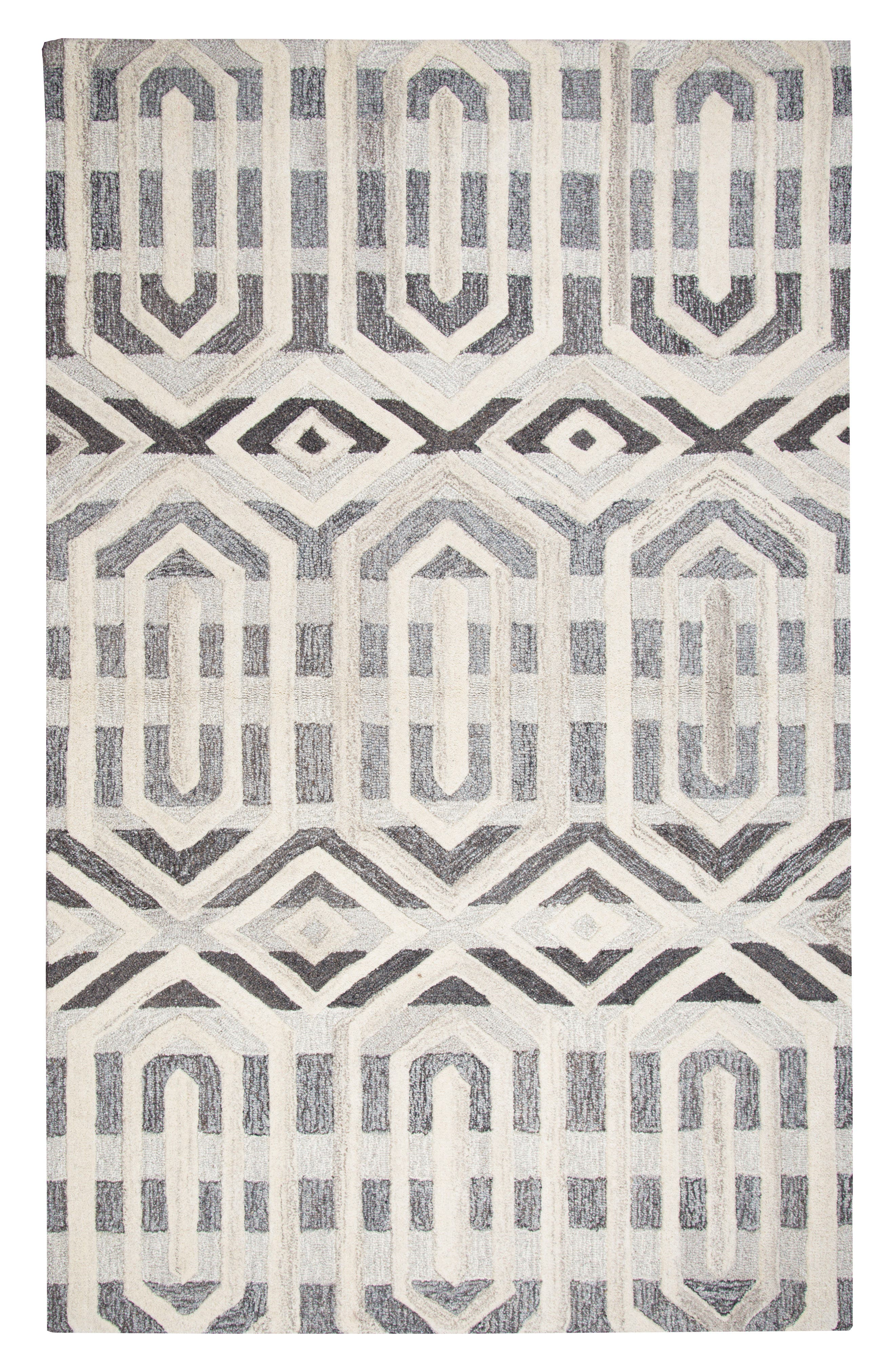 Urban Octagon Hand Tufted Wool Area Rug,                         Main,                         color, Grey