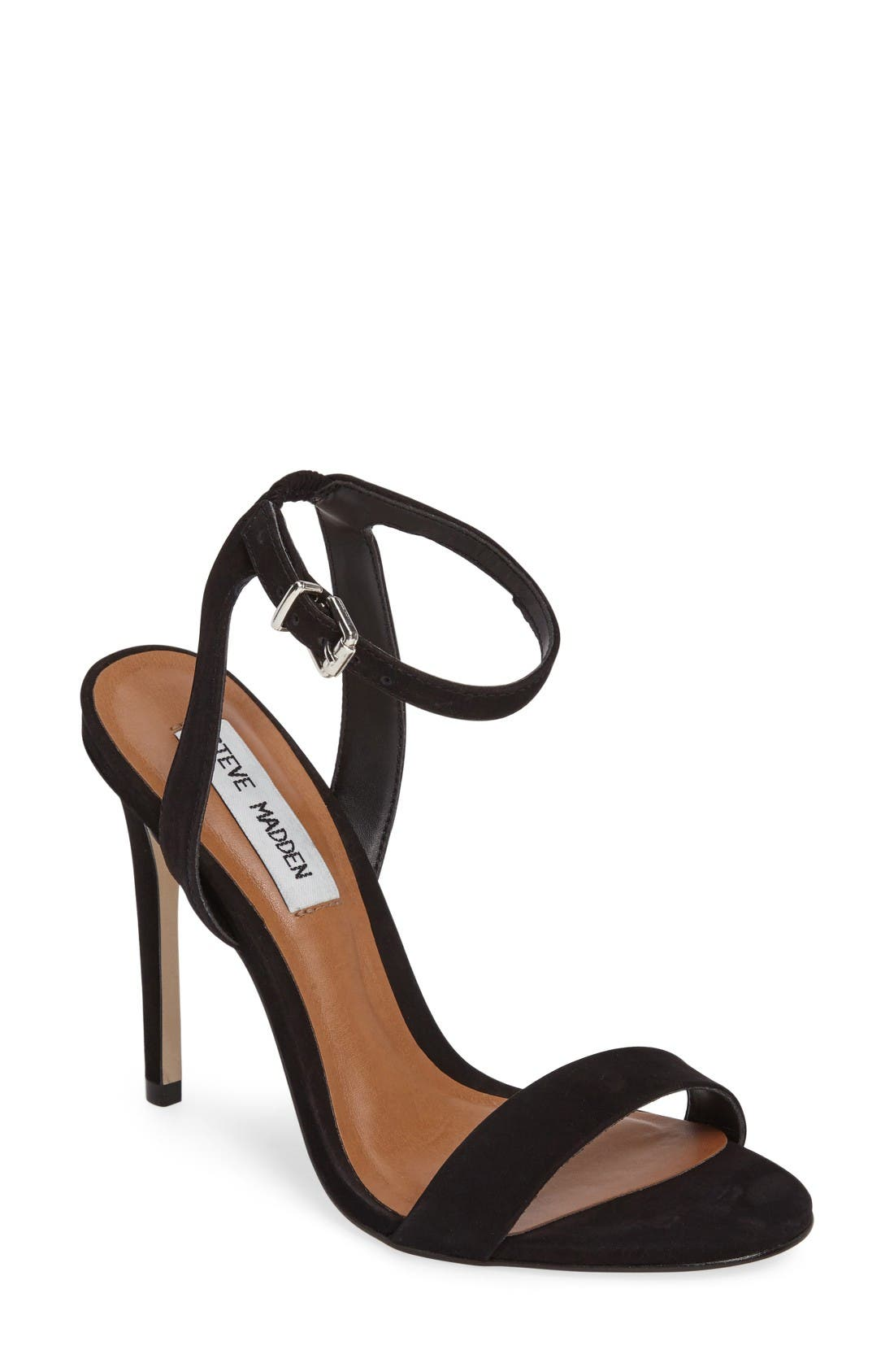 Landen Ankle Strap Sandal,                             Main thumbnail 1, color,                             Black Nubuck Leather