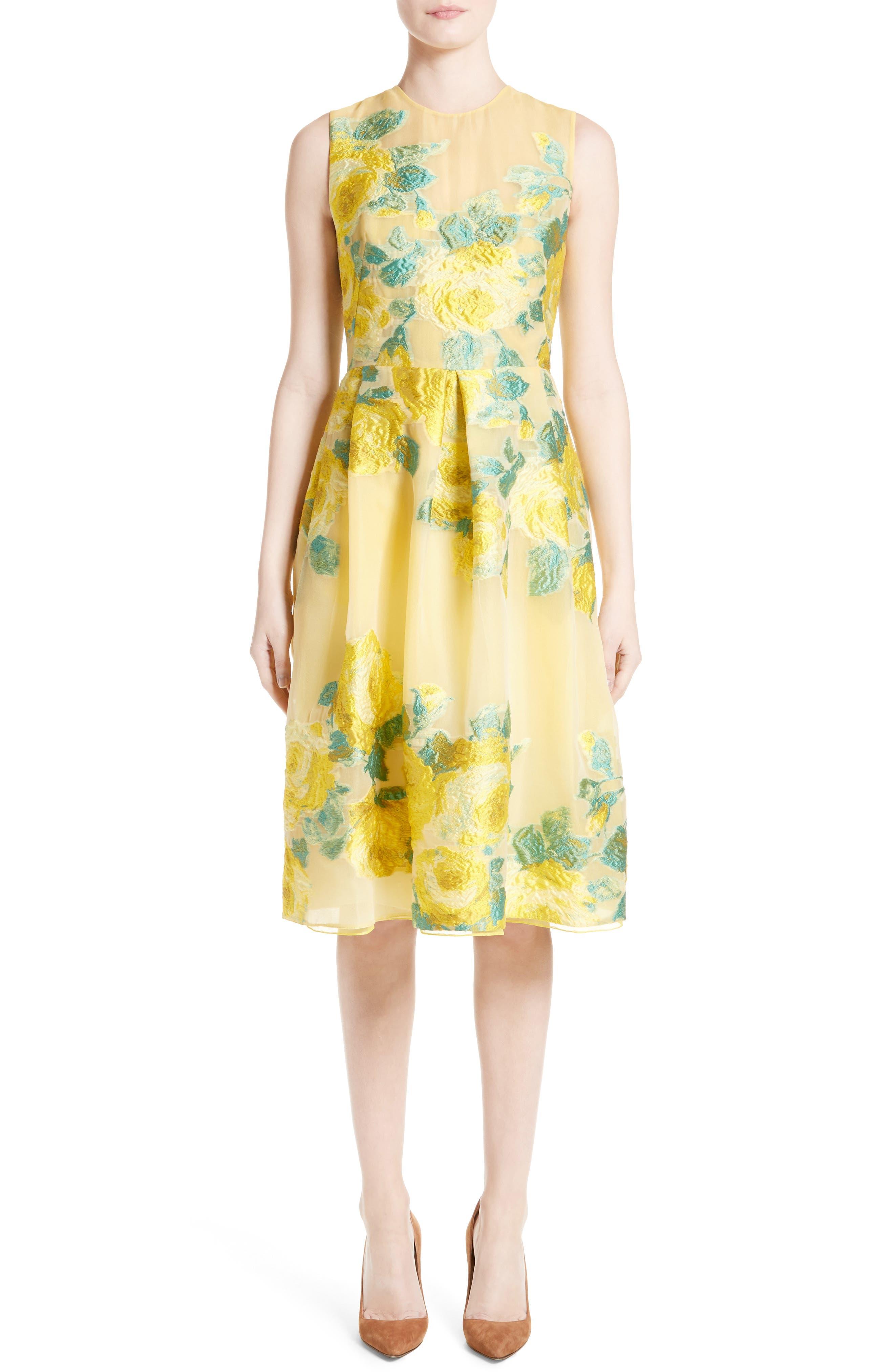 Floral Fil Coupé Dress,                             Main thumbnail 1, color,                             Citrine Multi